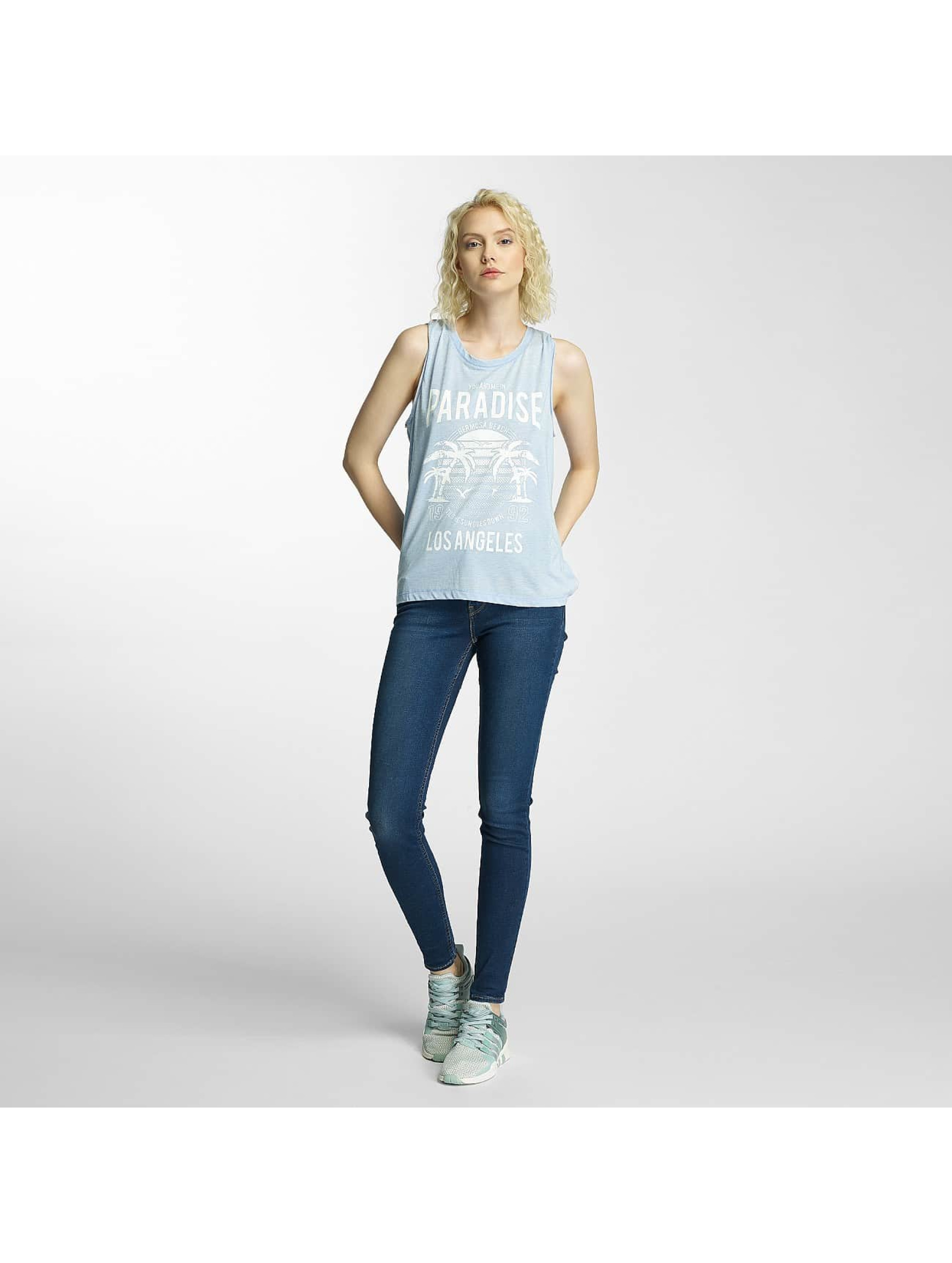 Brave Soul Tank Tops Printed Burn Out blue
