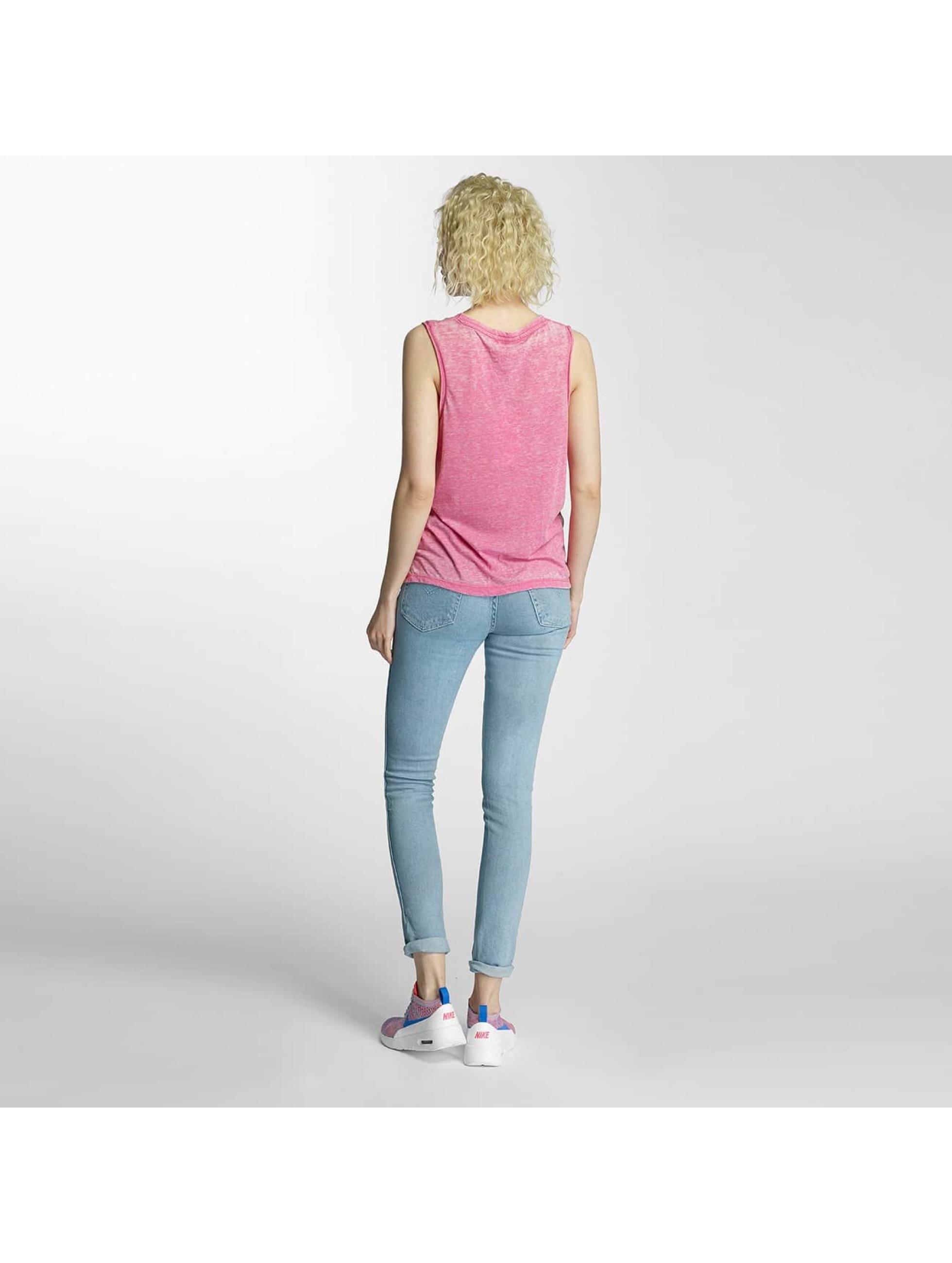 Brave Soul Tanktop Printed Burn Out Vest pink