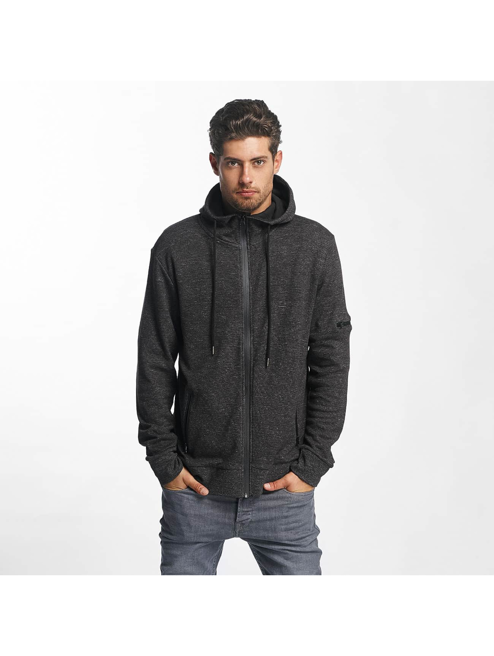 Brave Soul Zip Hoodie High Funnel Neck Through czarny