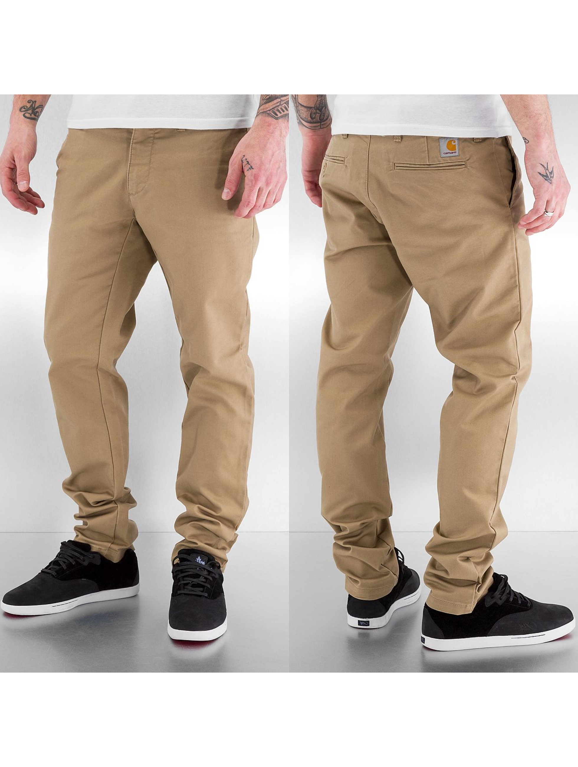 Carhartt WIP Chinot/Kangashousut Lamar Sid Super Slim Fit Leather beige