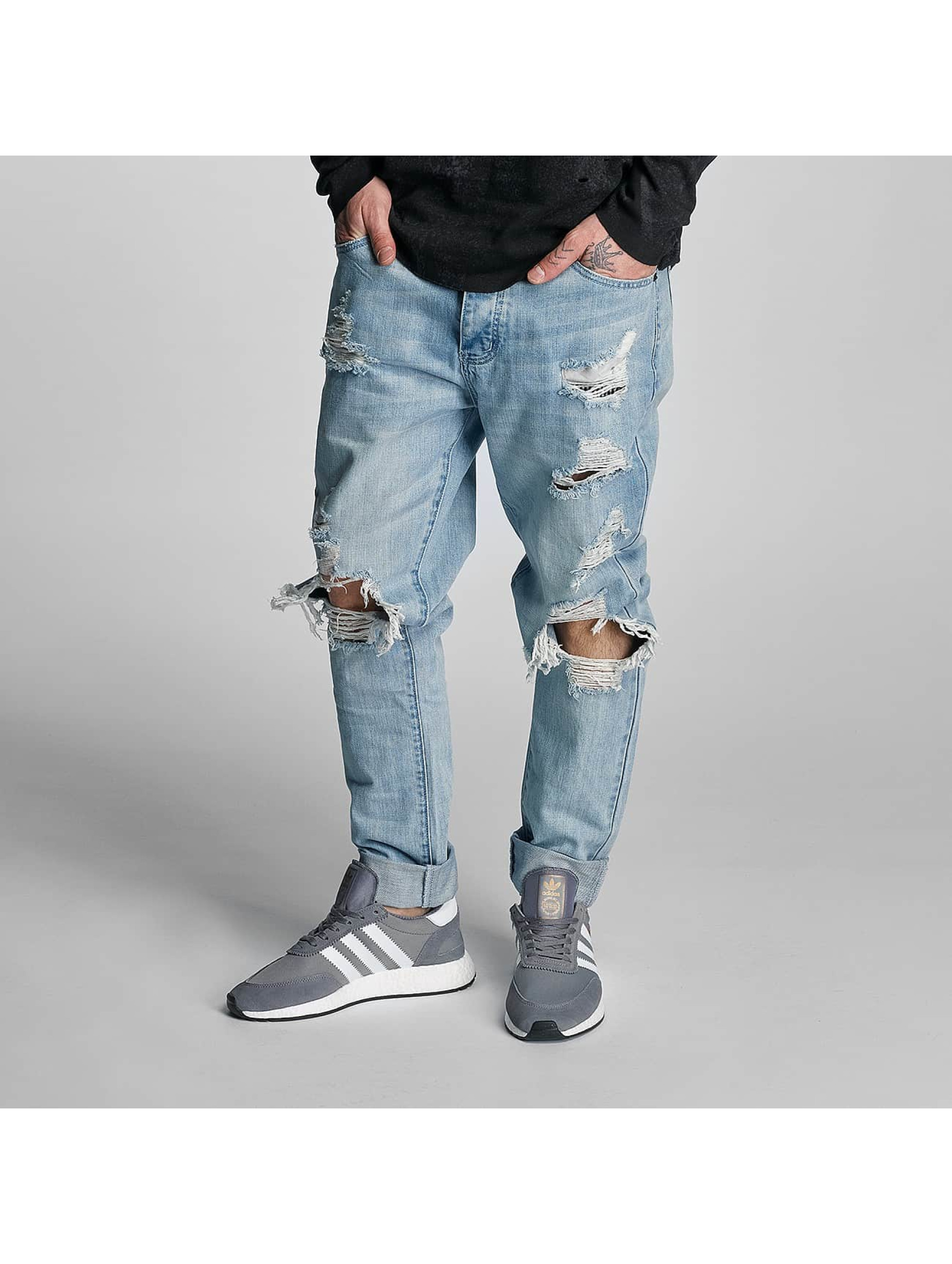 Cayler & Sons heren straight fit jeans destroyed - blauw