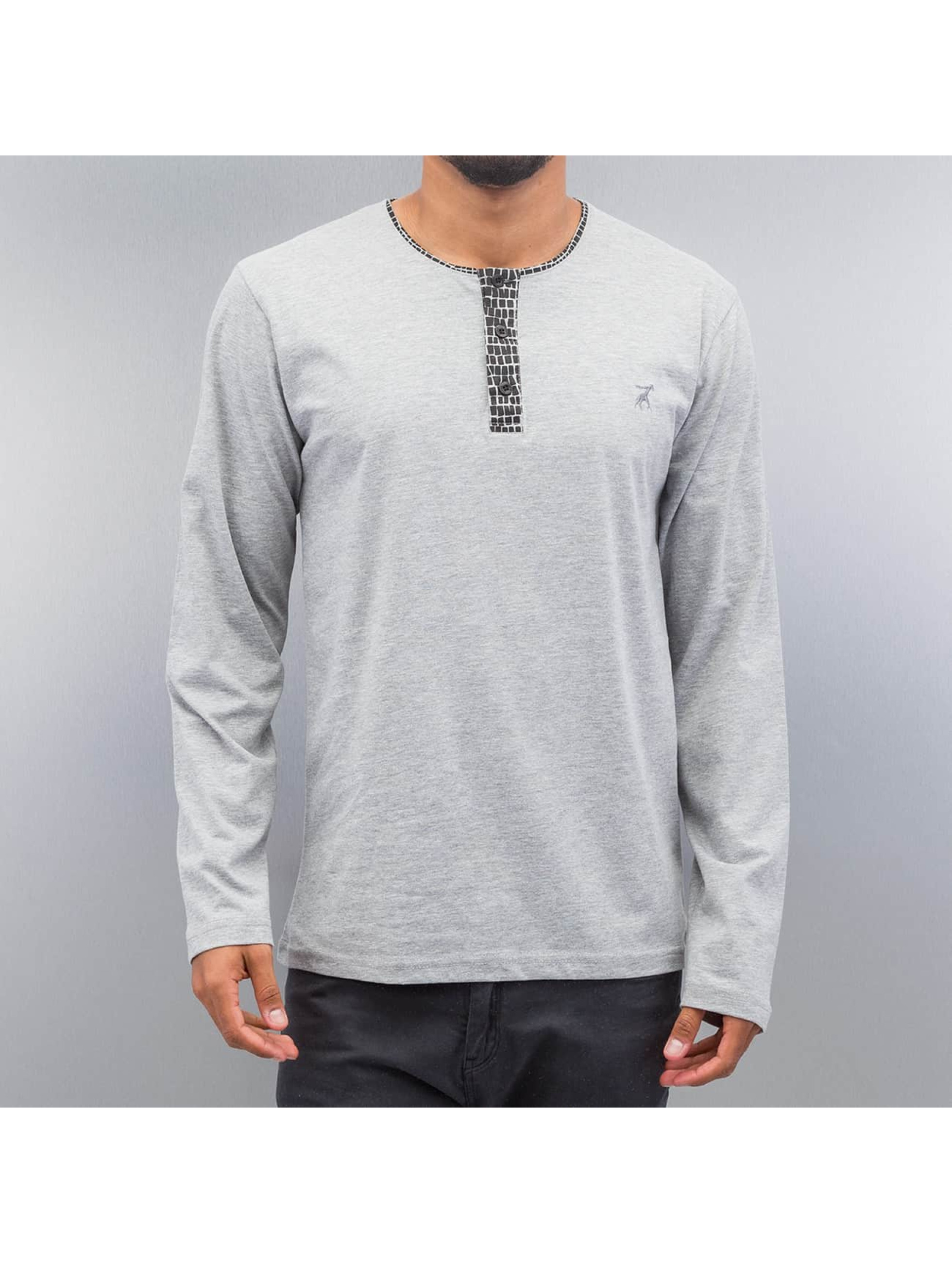 Cazzy Clang T-Shirt manches longues Button Tape gris