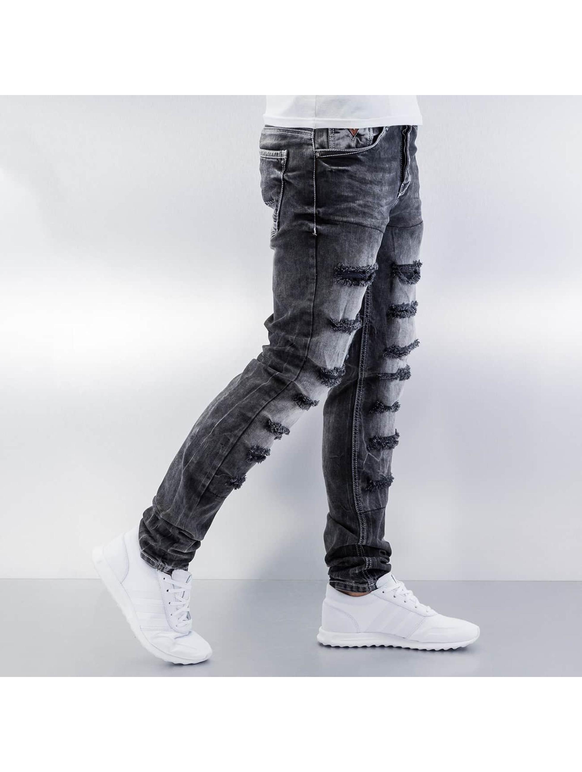 Cipo & Baxx Облегающие джинсы Destroyed серый