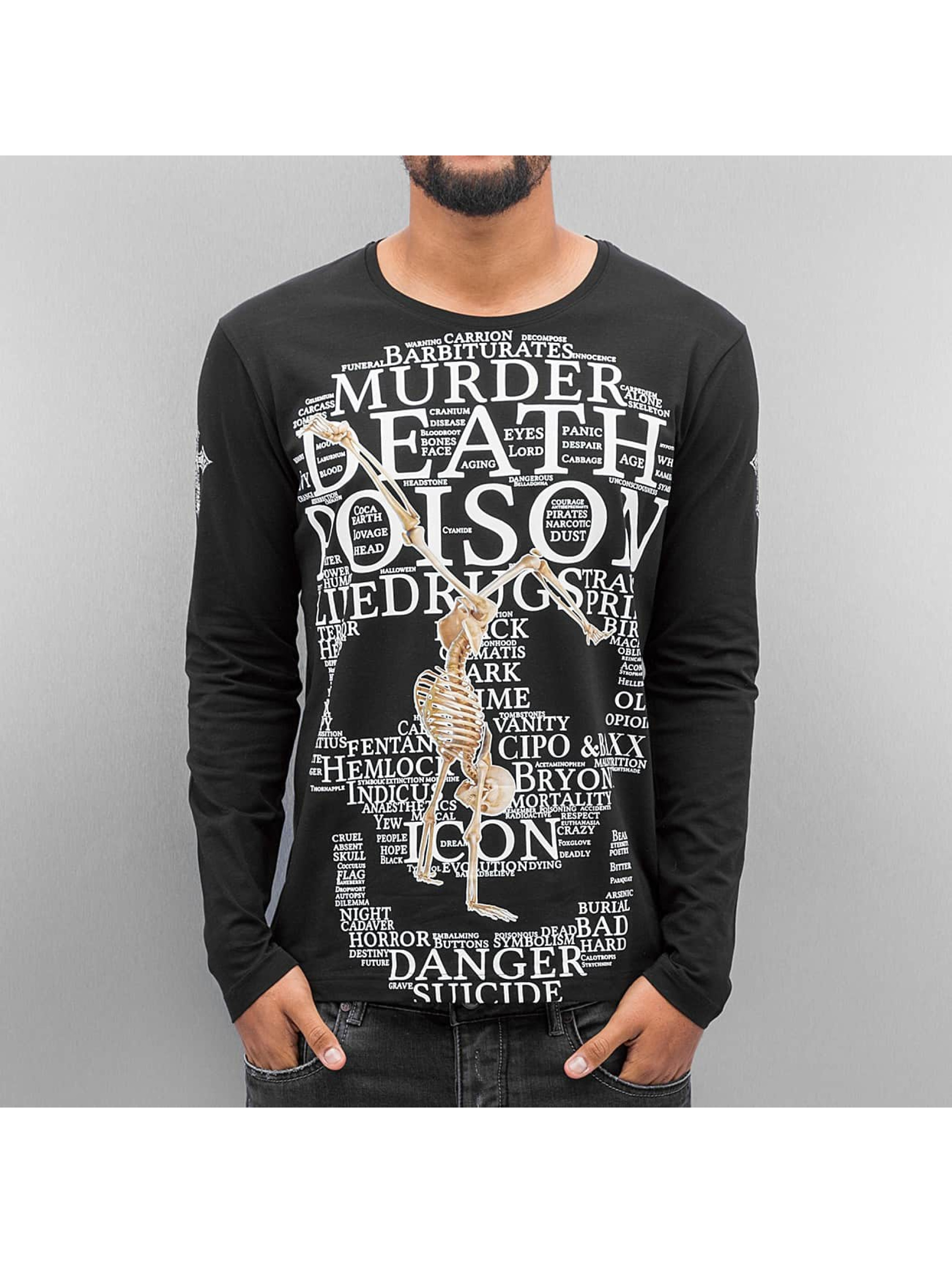 Cipo & Baxx Camiseta de manga larga Skull negro