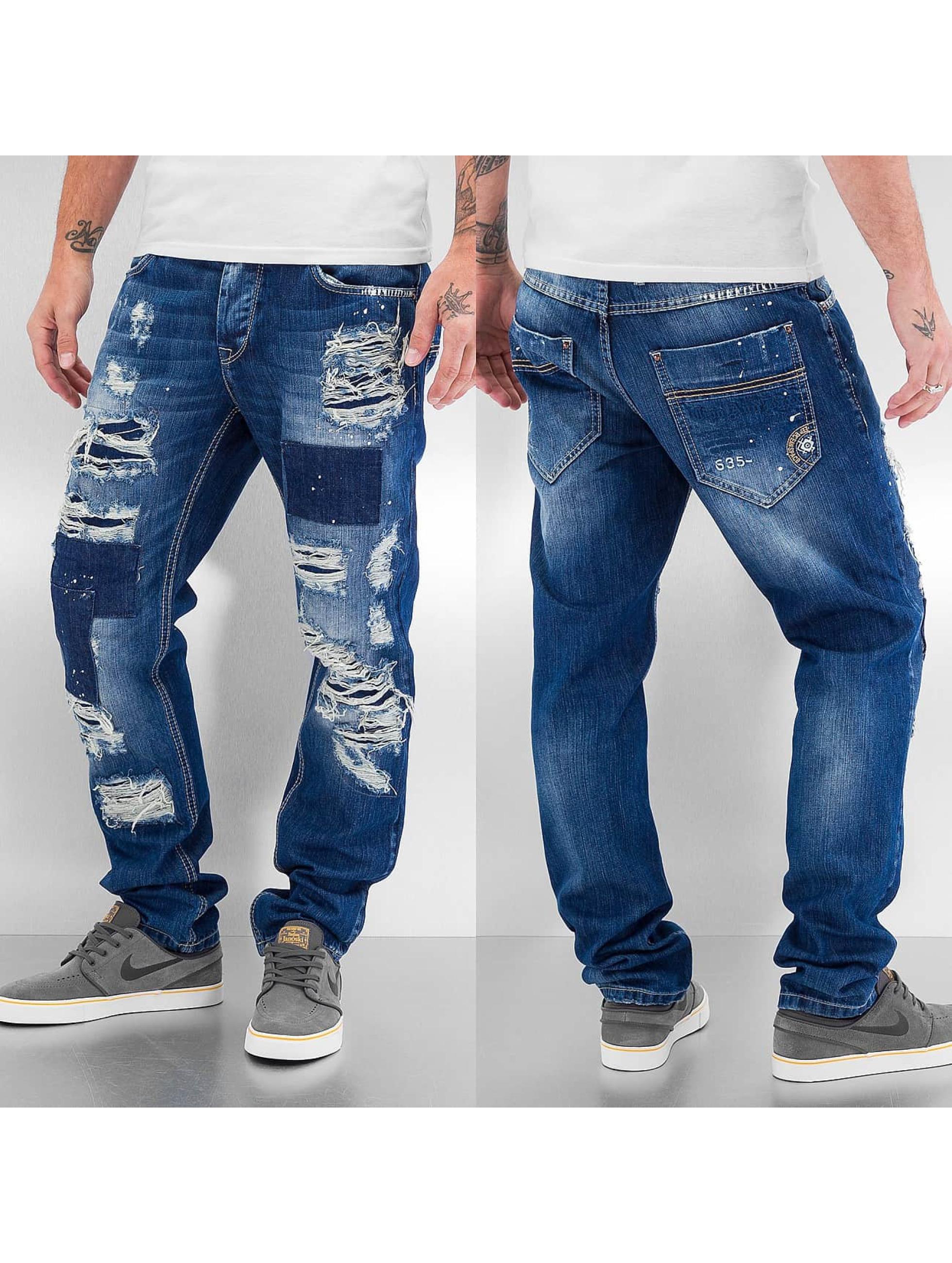 Cipo & Baxx Jean / Jeans Straight Fit Destroyed en bleu