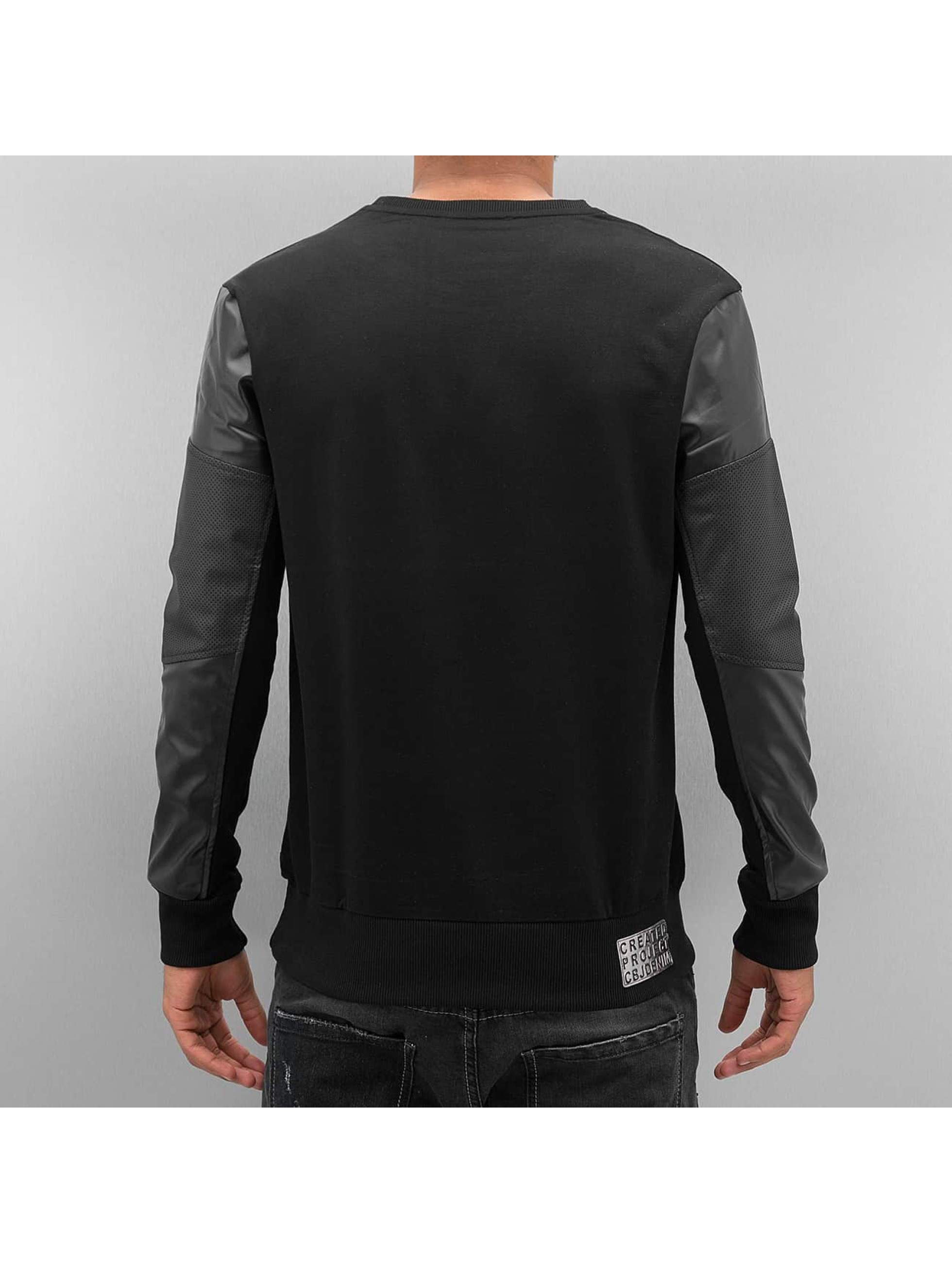 Cipo & Baxx Pullover Fake Leather schwarz