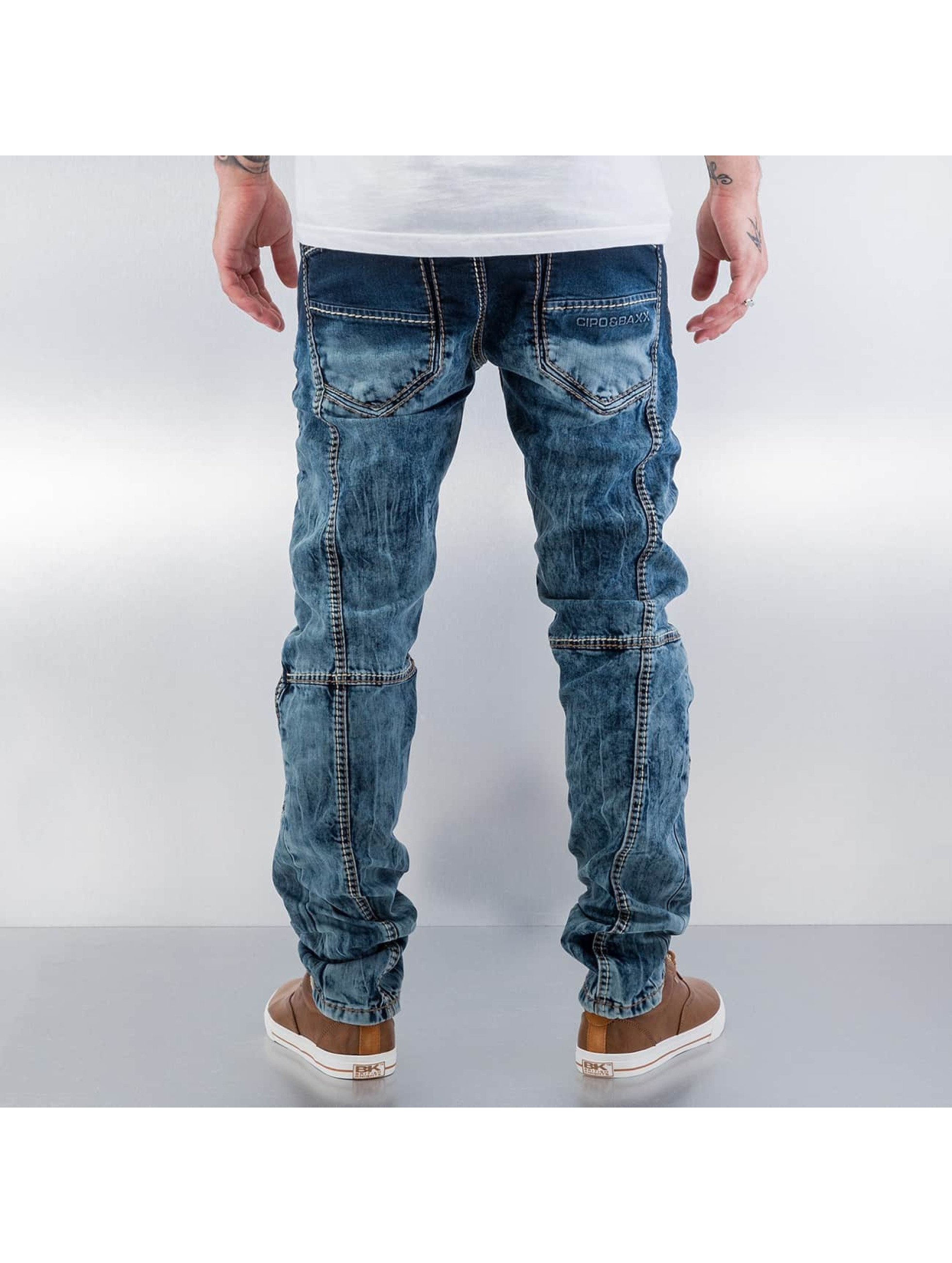 Cipo & Baxx Straight Fit Jeans Topstitching blå