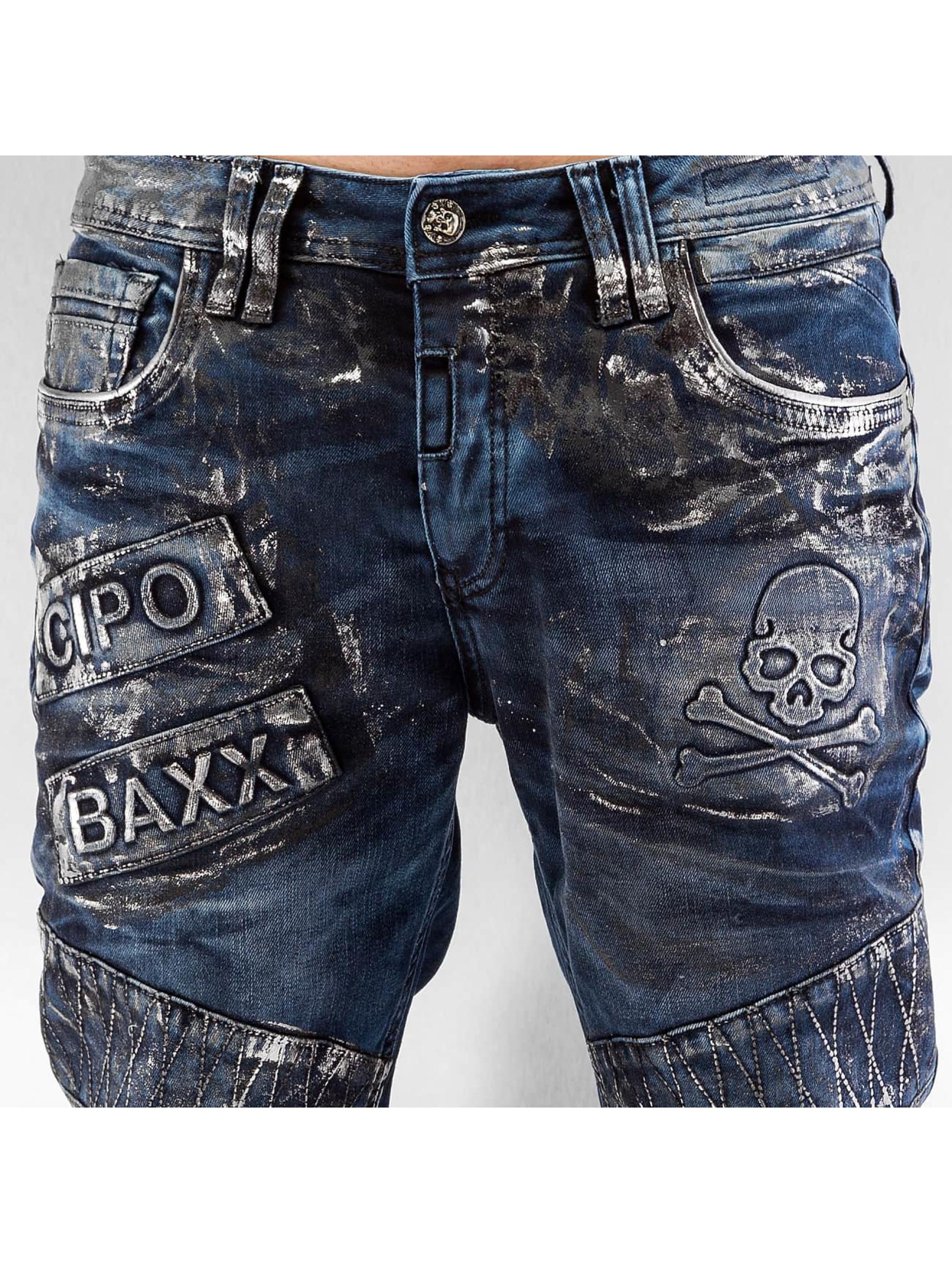 Cipo & Baxx Straight Fit Jeans Skull blue