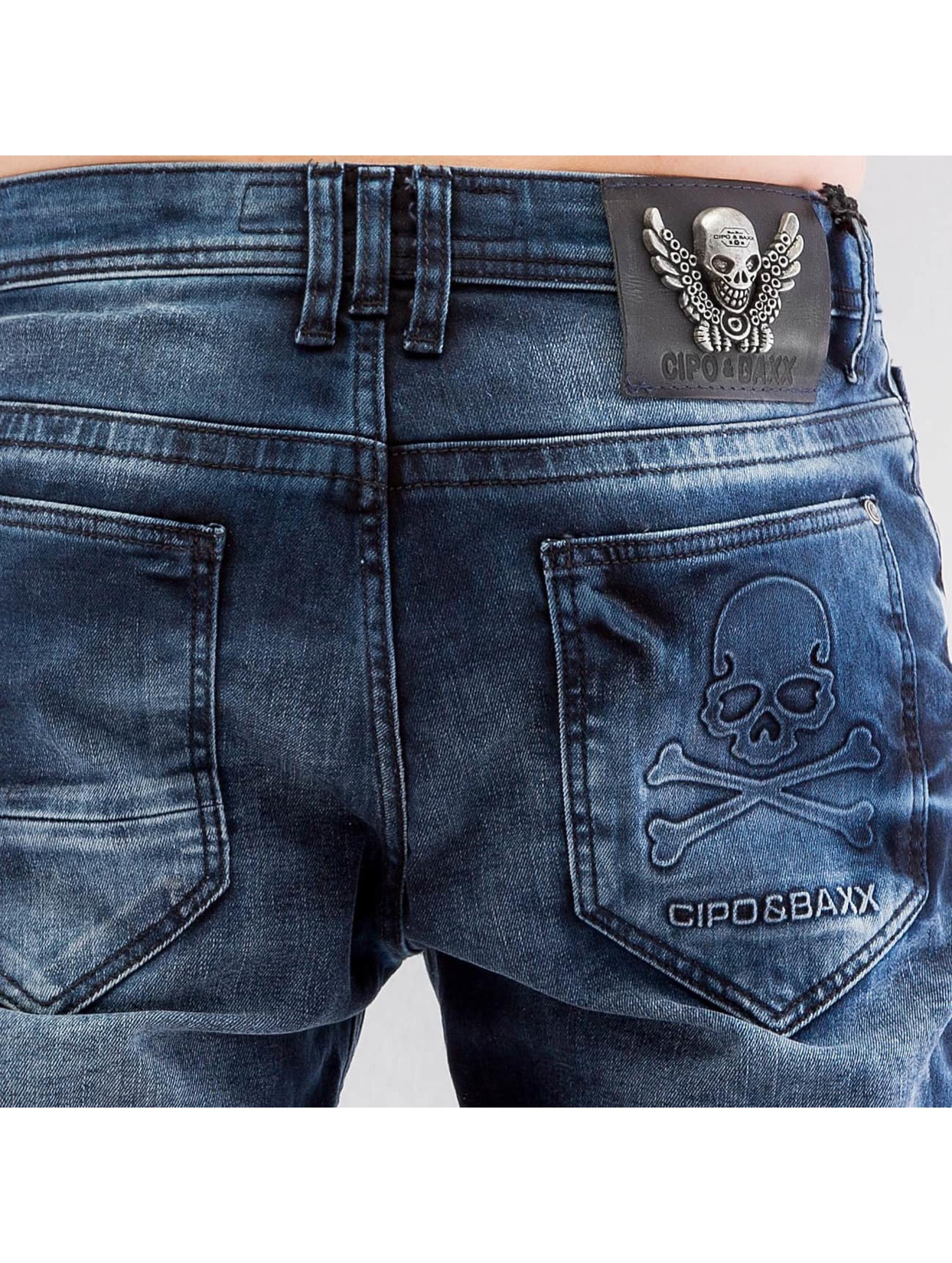 Cipo & Baxx Straight Fit Jeans Skull mavi
