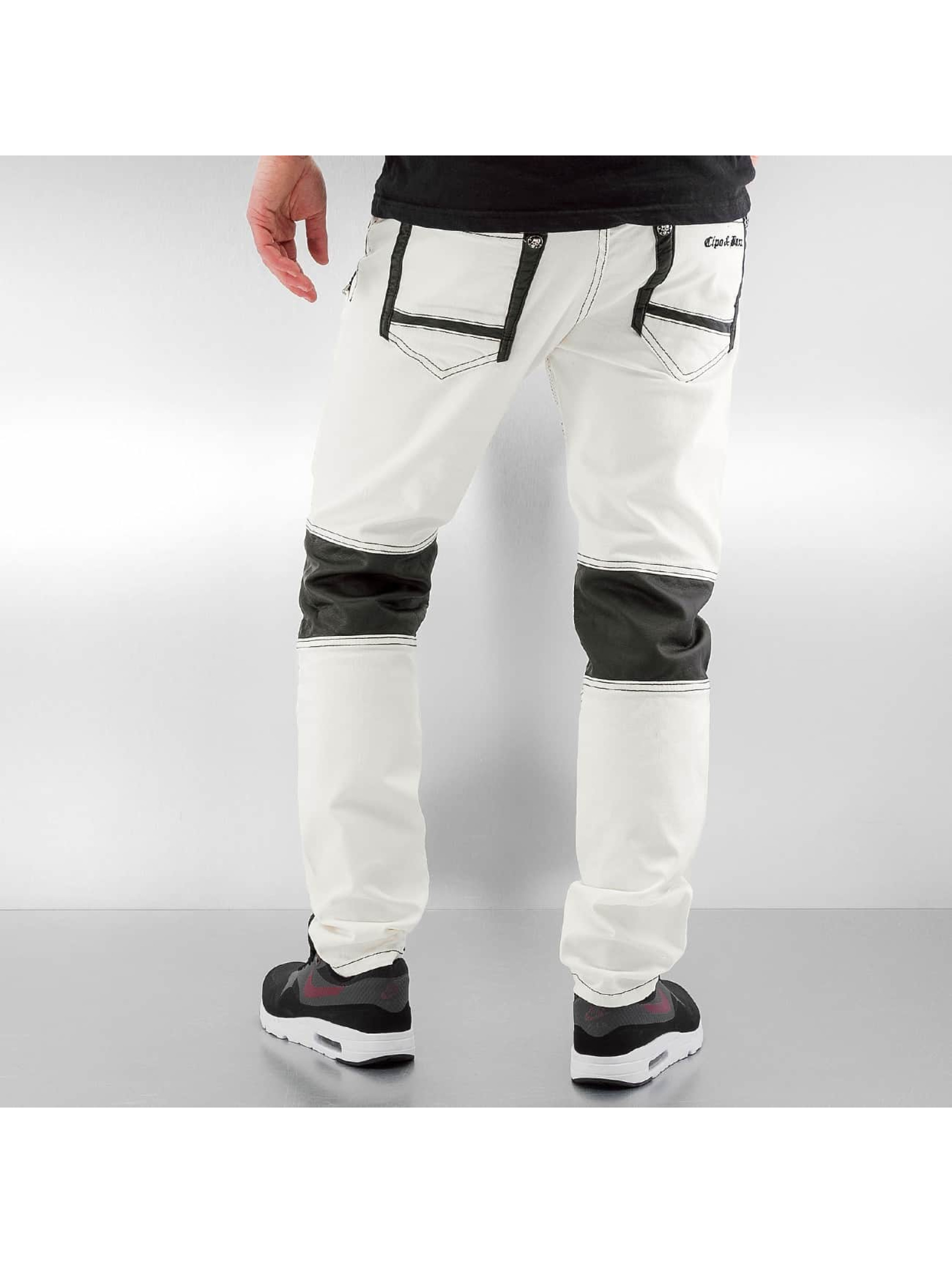 Cipo & Baxx Straight Fit Jeans Fake Leather weiß