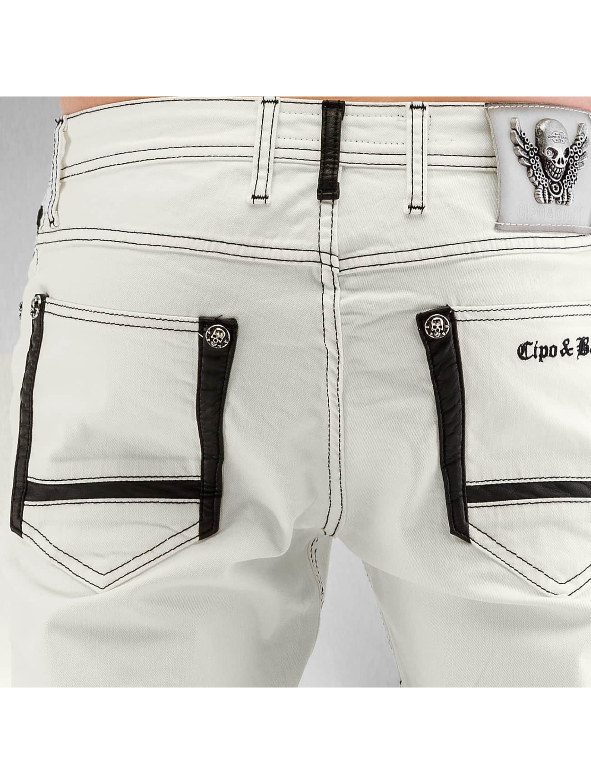 Cipo & Baxx Straight Fit Jeans Fake Leather white