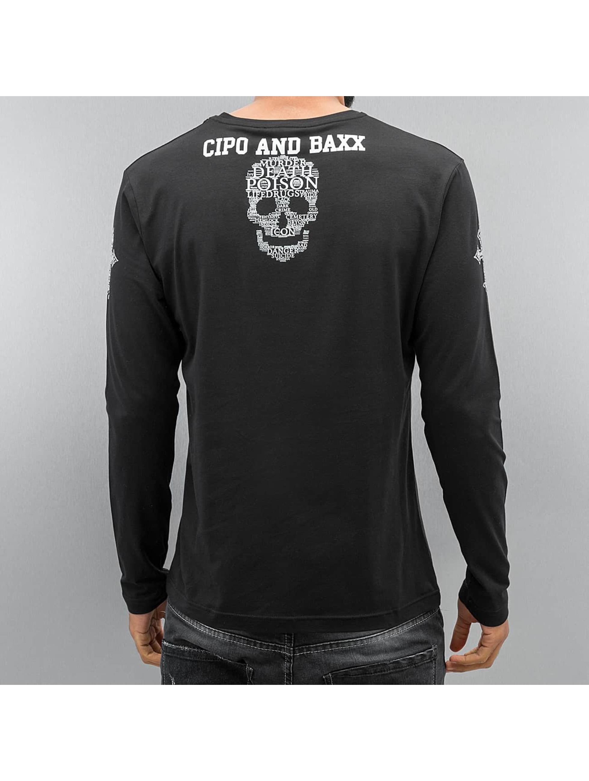 Cipo & Baxx T-Shirt manches longues Skull noir