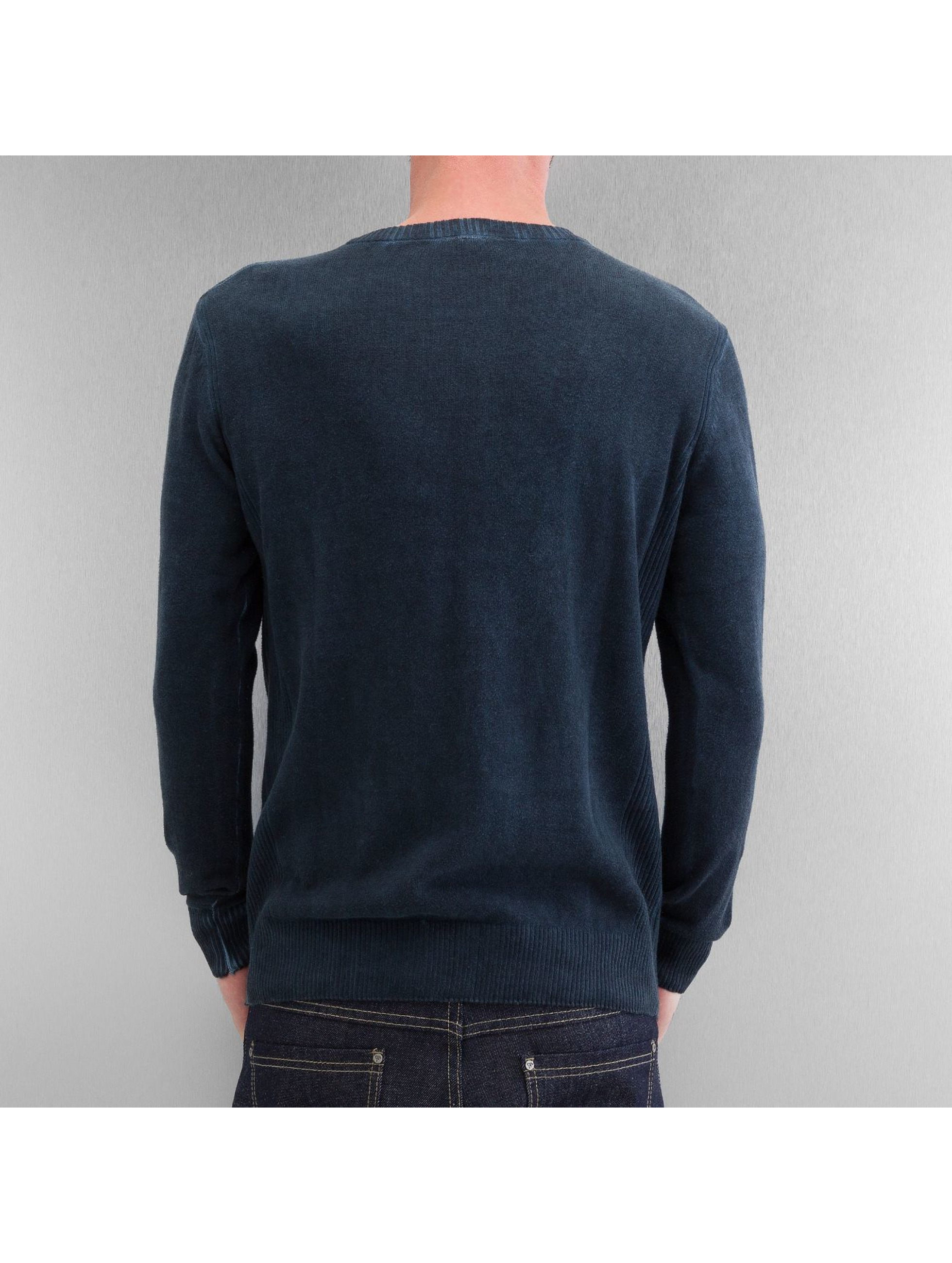 Clang Pullover Oilwashed Knitted blau