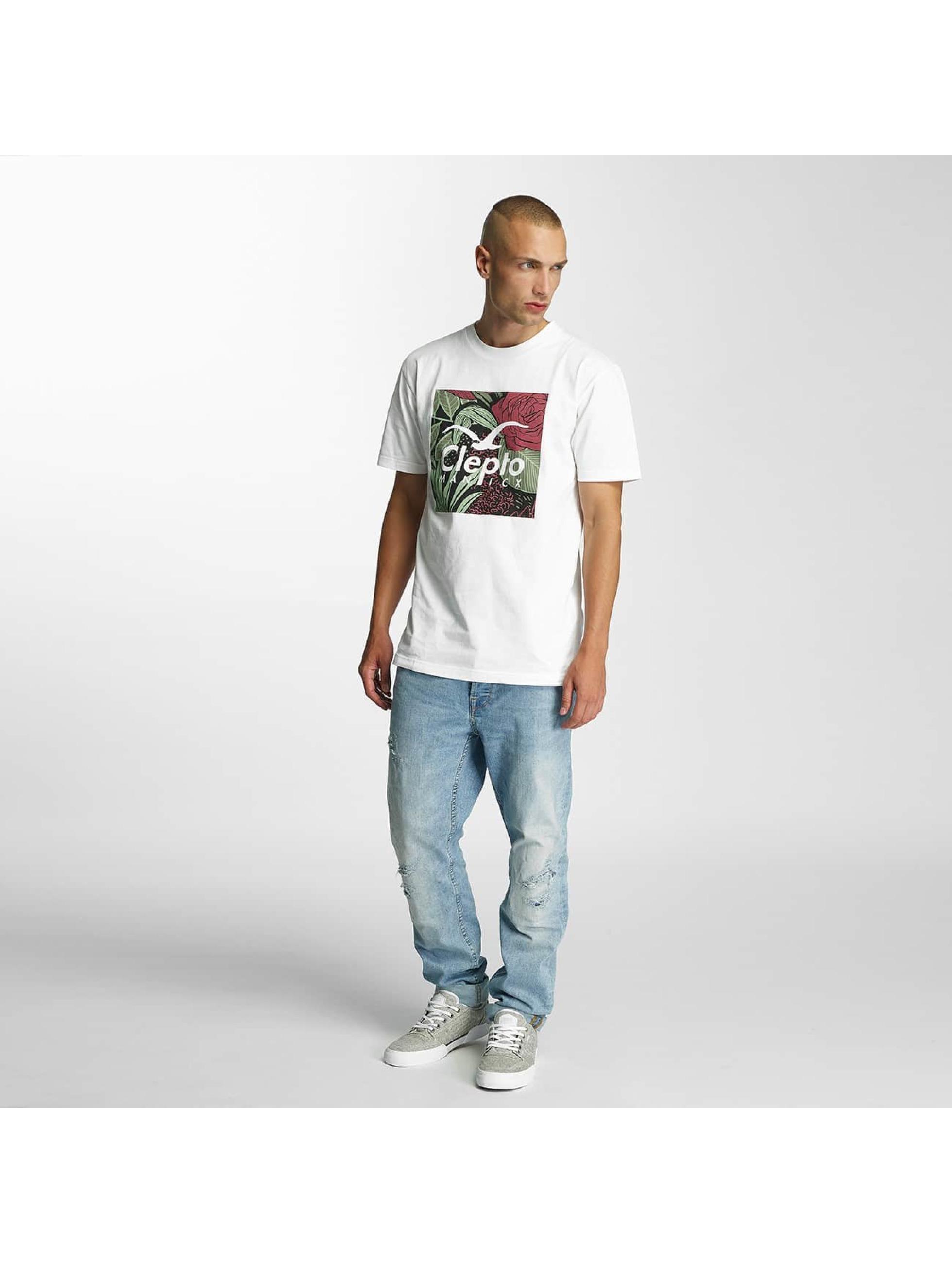 Cleptomanicx T-Shirt Floral Box weiß