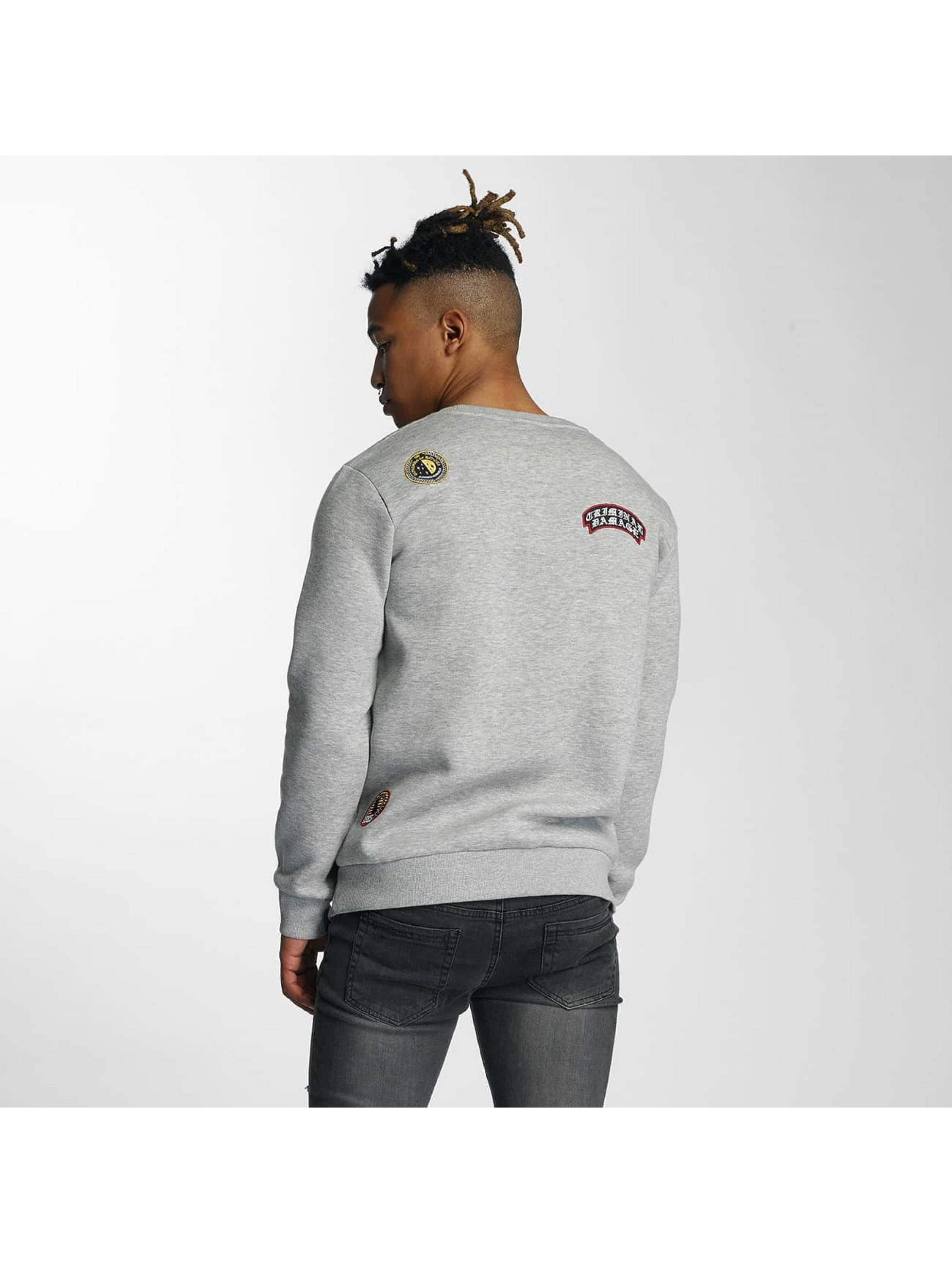 Pullover Emblem in grau
