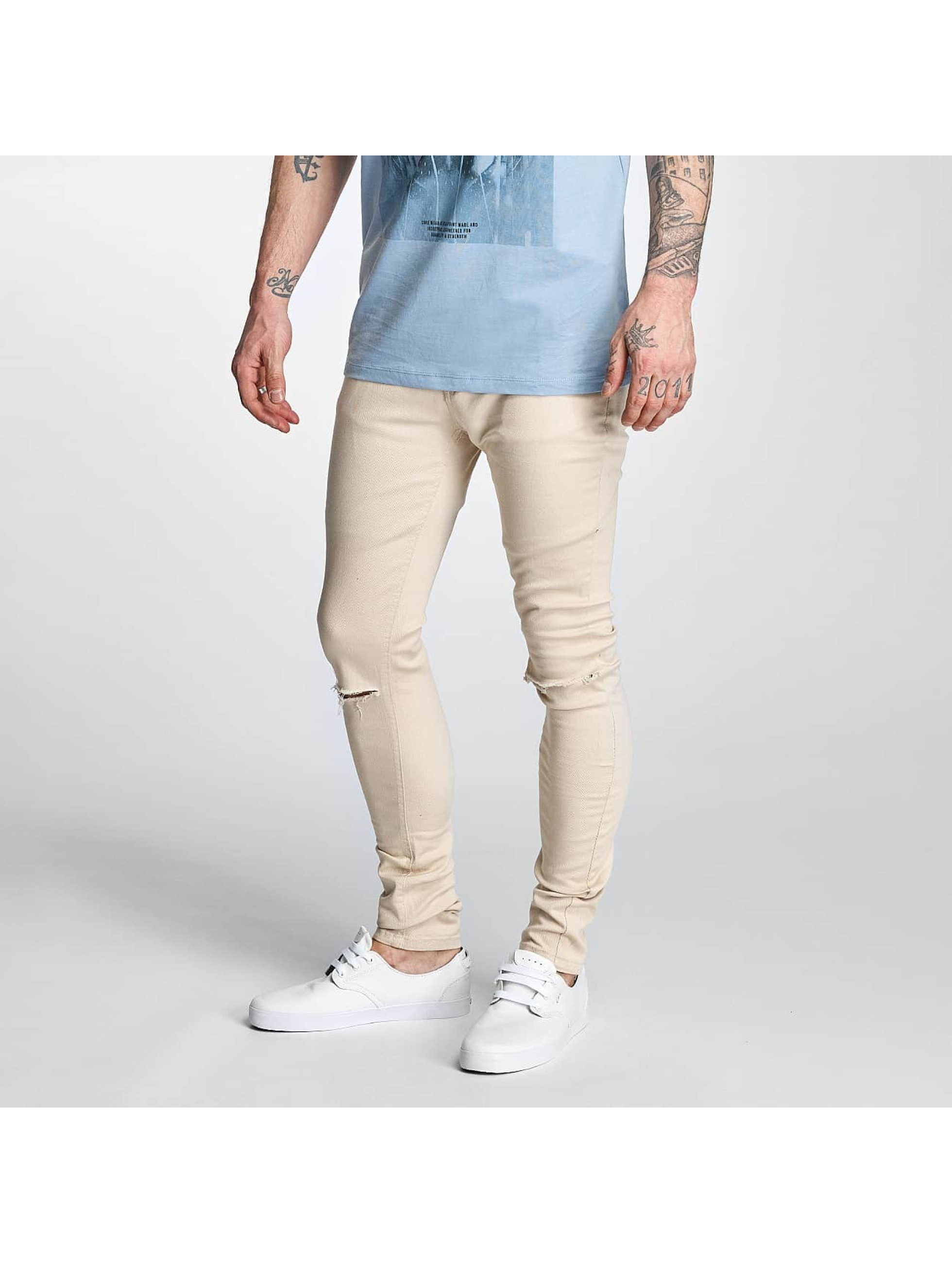 Criminal Damage Skinny Jeans Ripper bezowy