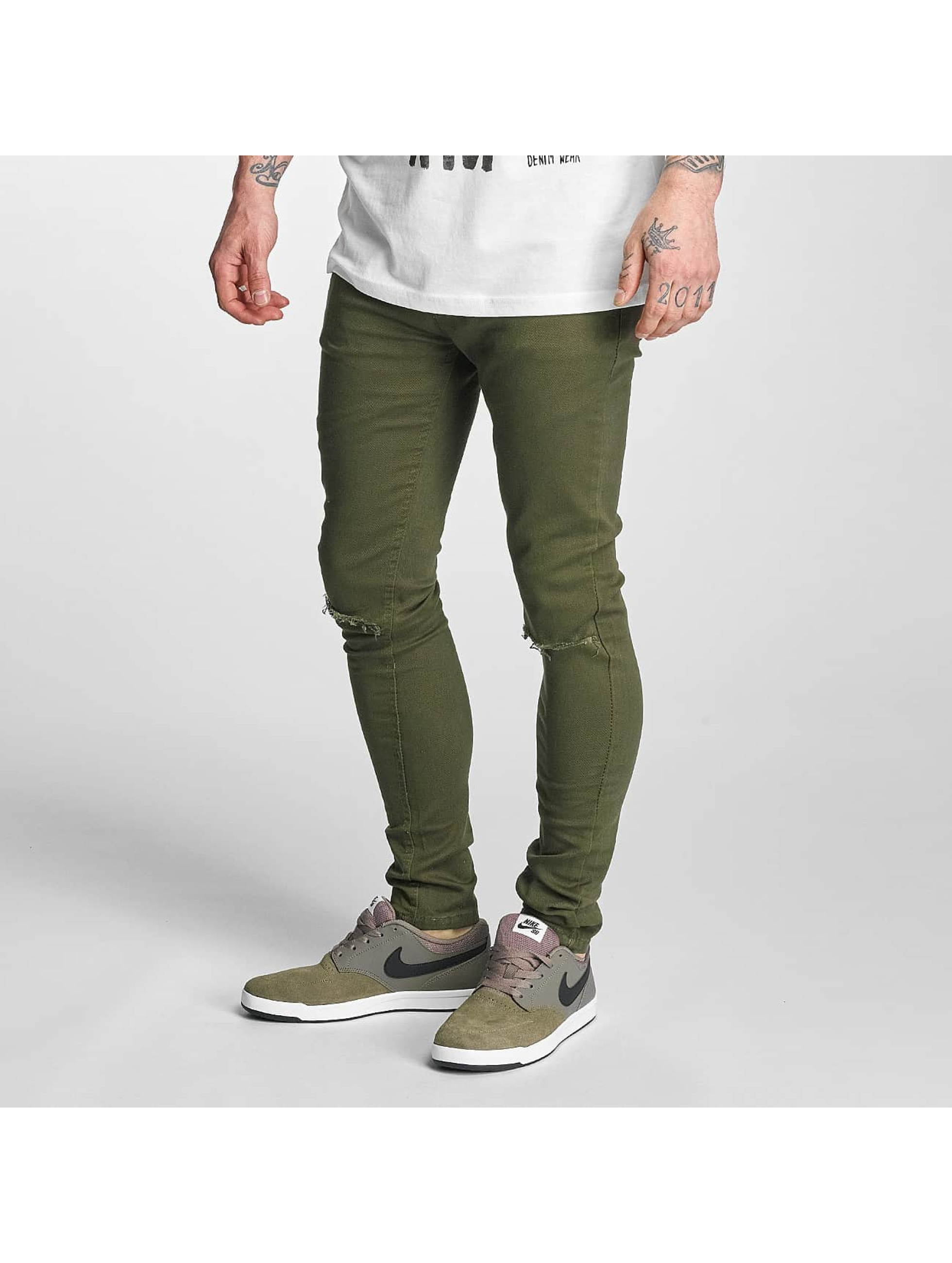 Criminal Damage Skinny jeans Ripper olijfgroen