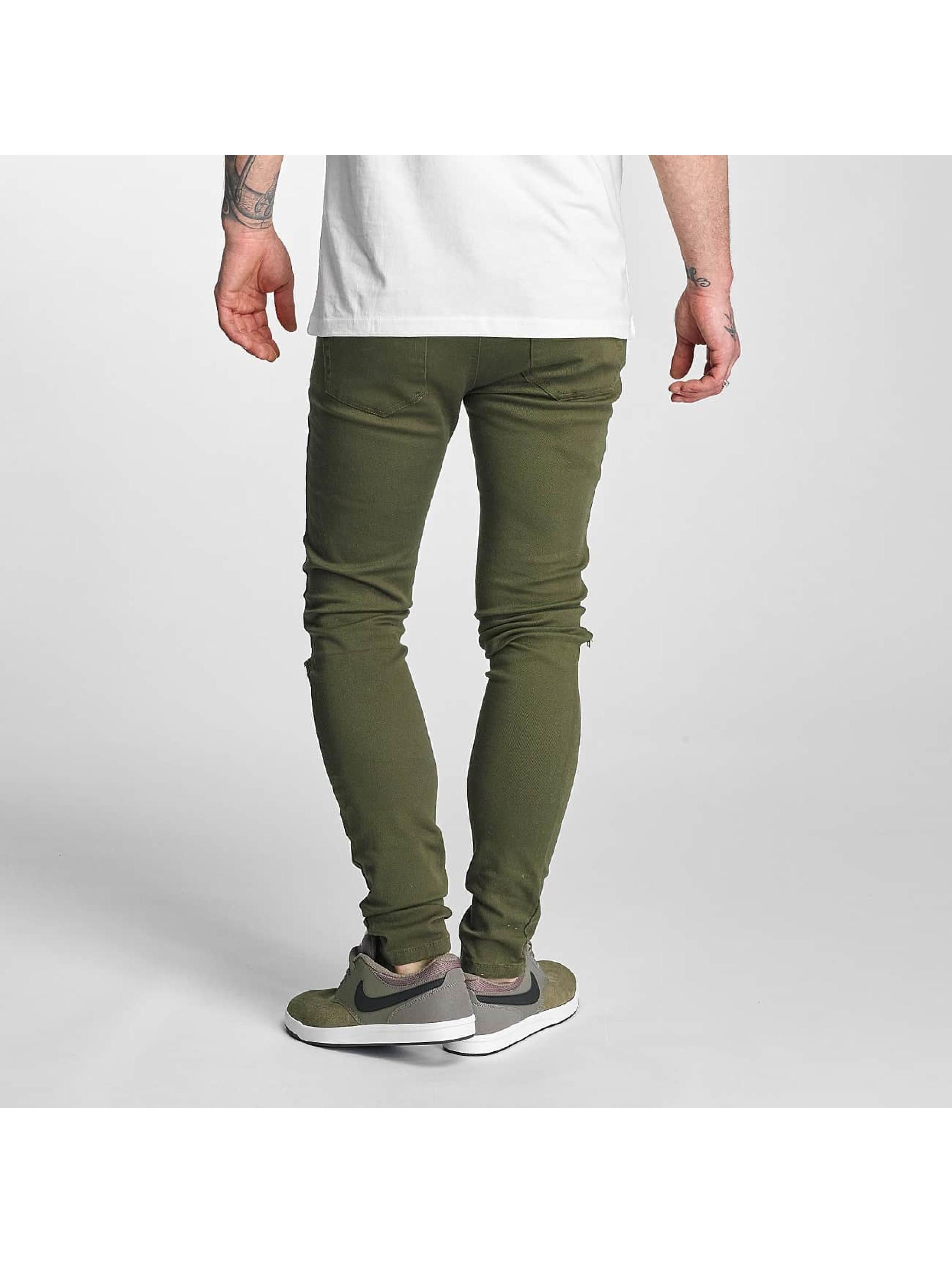 Criminal Damage Skinny Jeans Ripper oliven