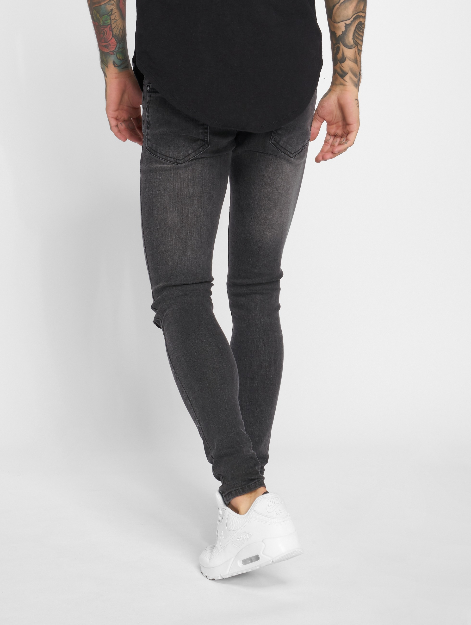 Criminal Damage Skinny Jeans Ripper schwarz