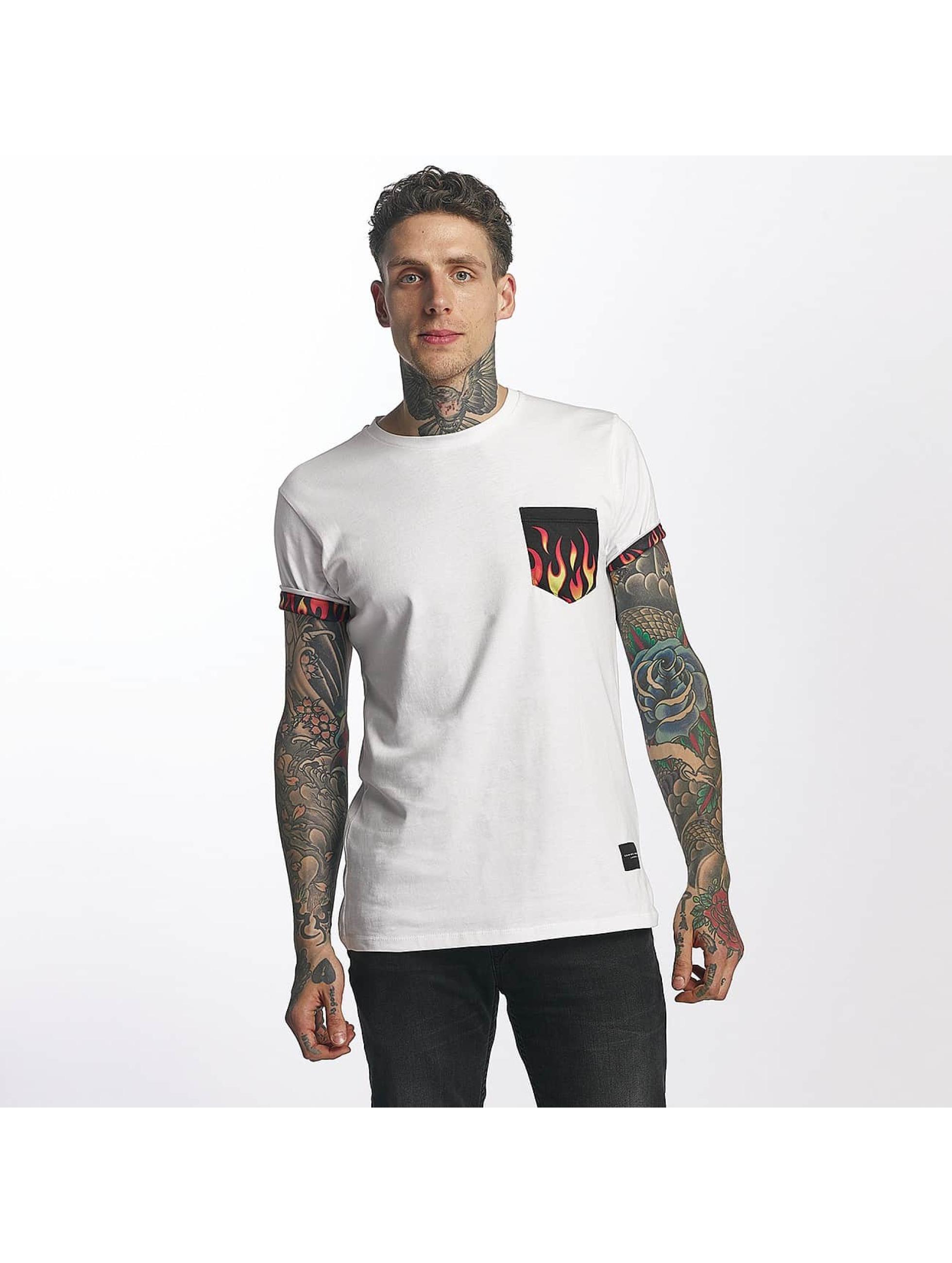 Criminal Damage T-Shirty Flame Pocket bialy
