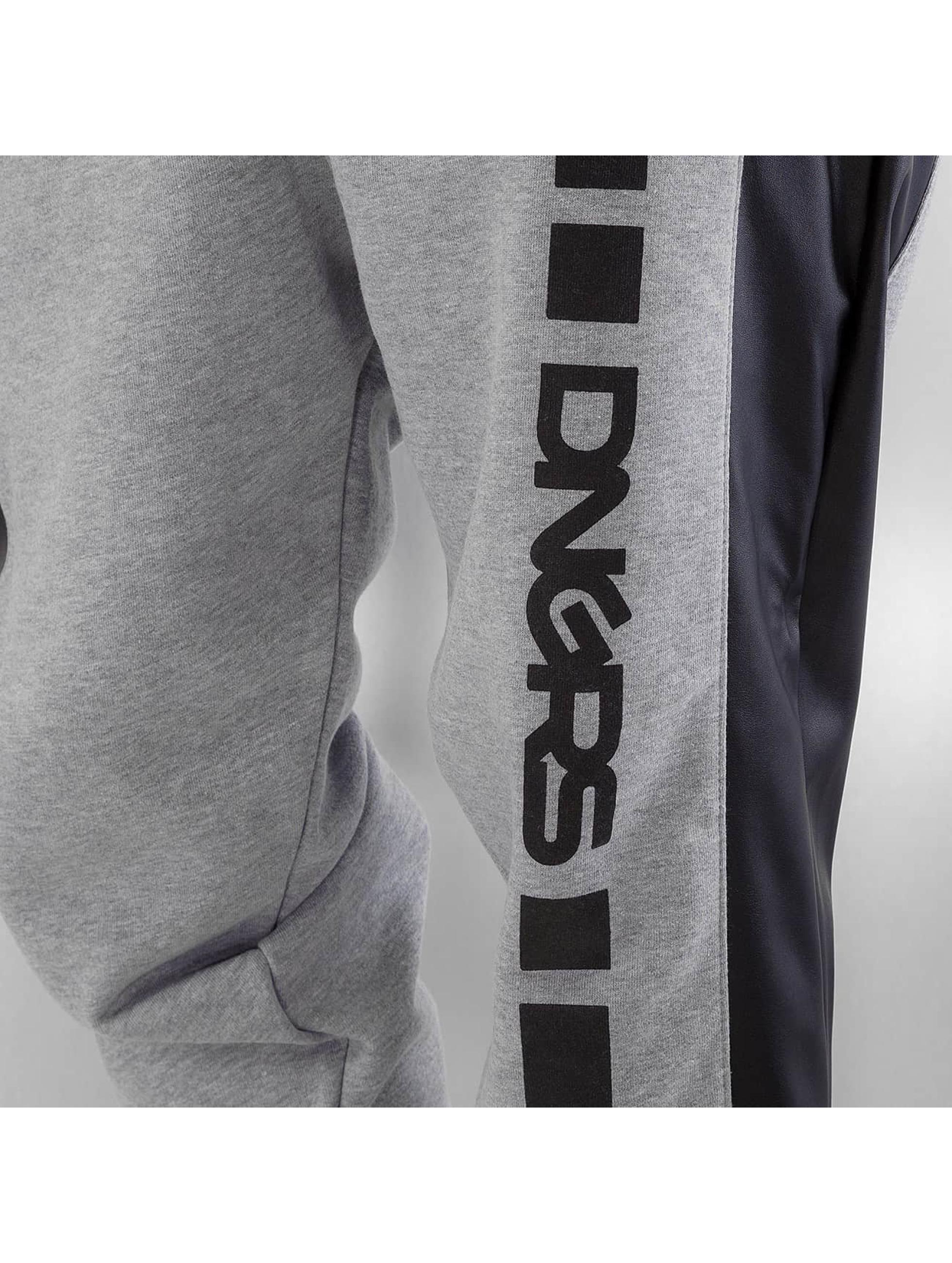 Dangerous DNGRS joggingbroek PU Outlines grijs