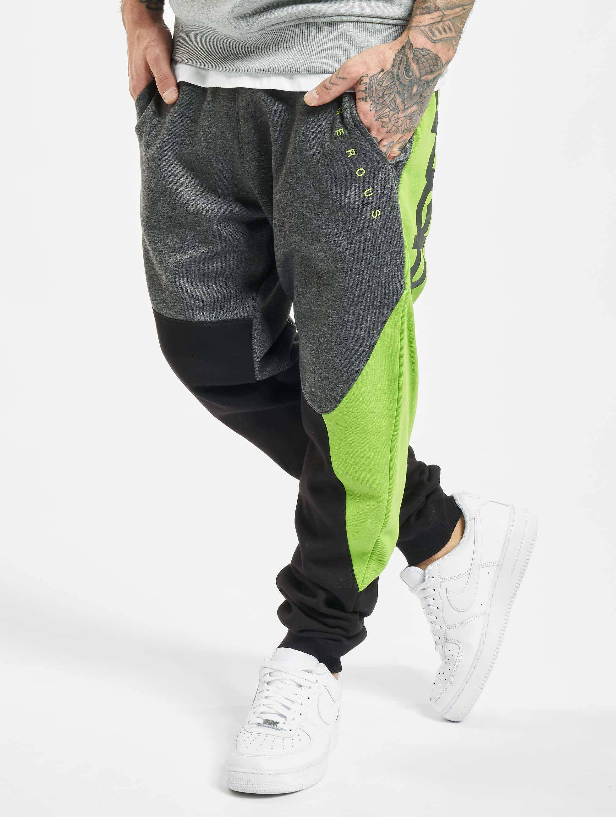 Dangerous DNGRS Cubix Sweatpants Anthracite Black Lime Green