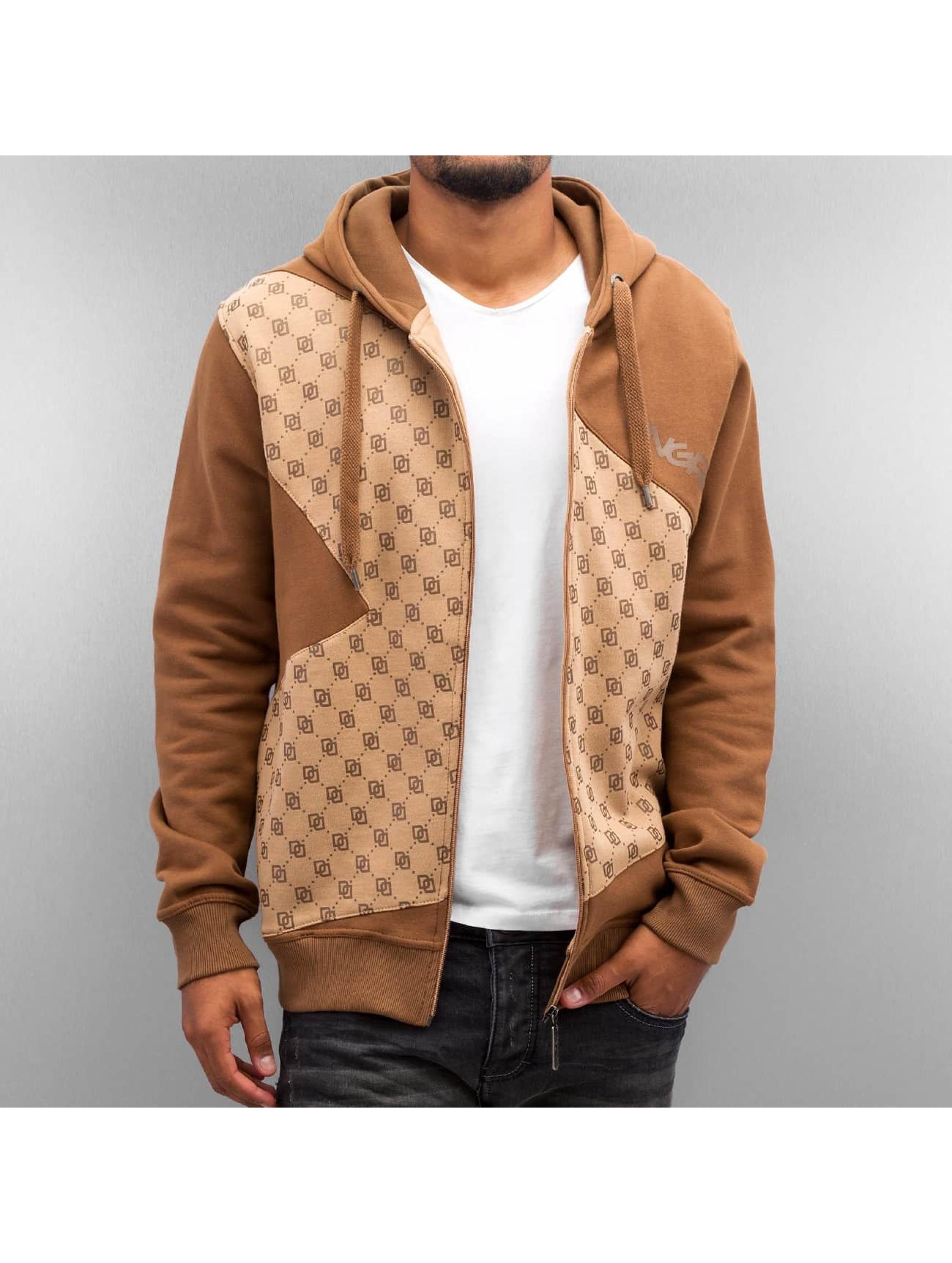 Dangerous DNGRS Sweat capuche zippé Front Logos brun