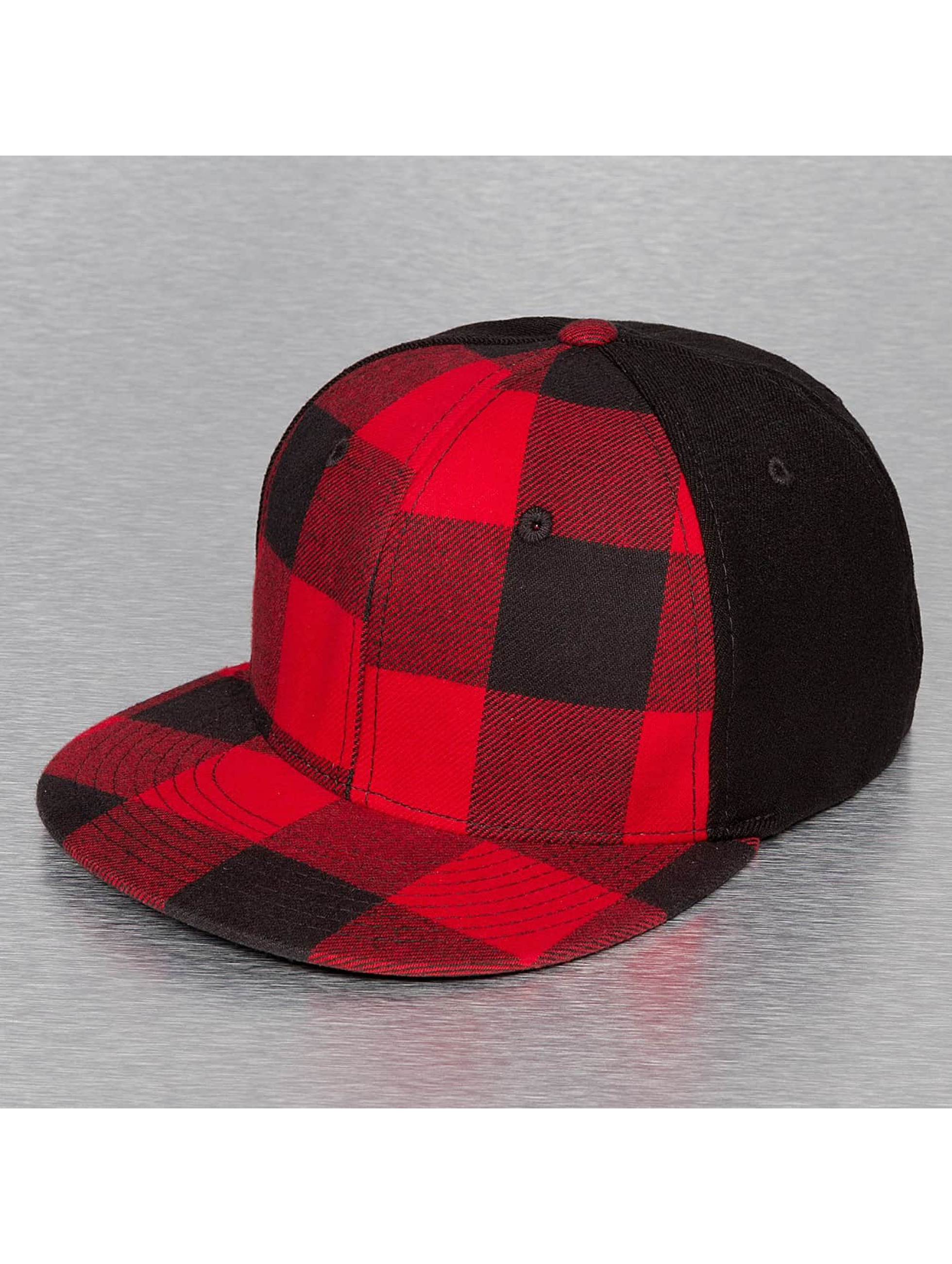 Decky USA Flexfitted-lippikset Plaid Flat Bill punainen