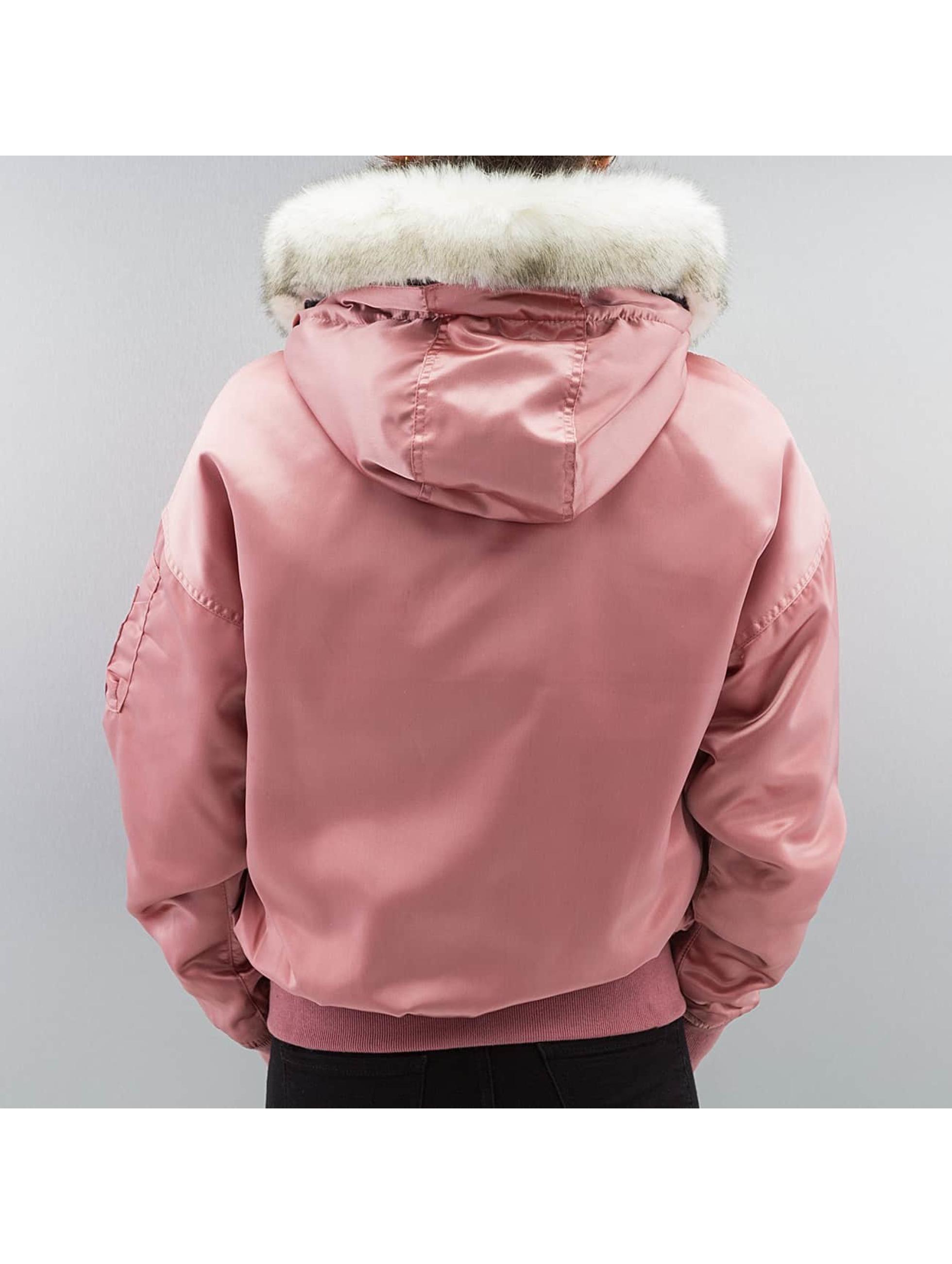 DEF Bomberová bunda Fake Fur ružová