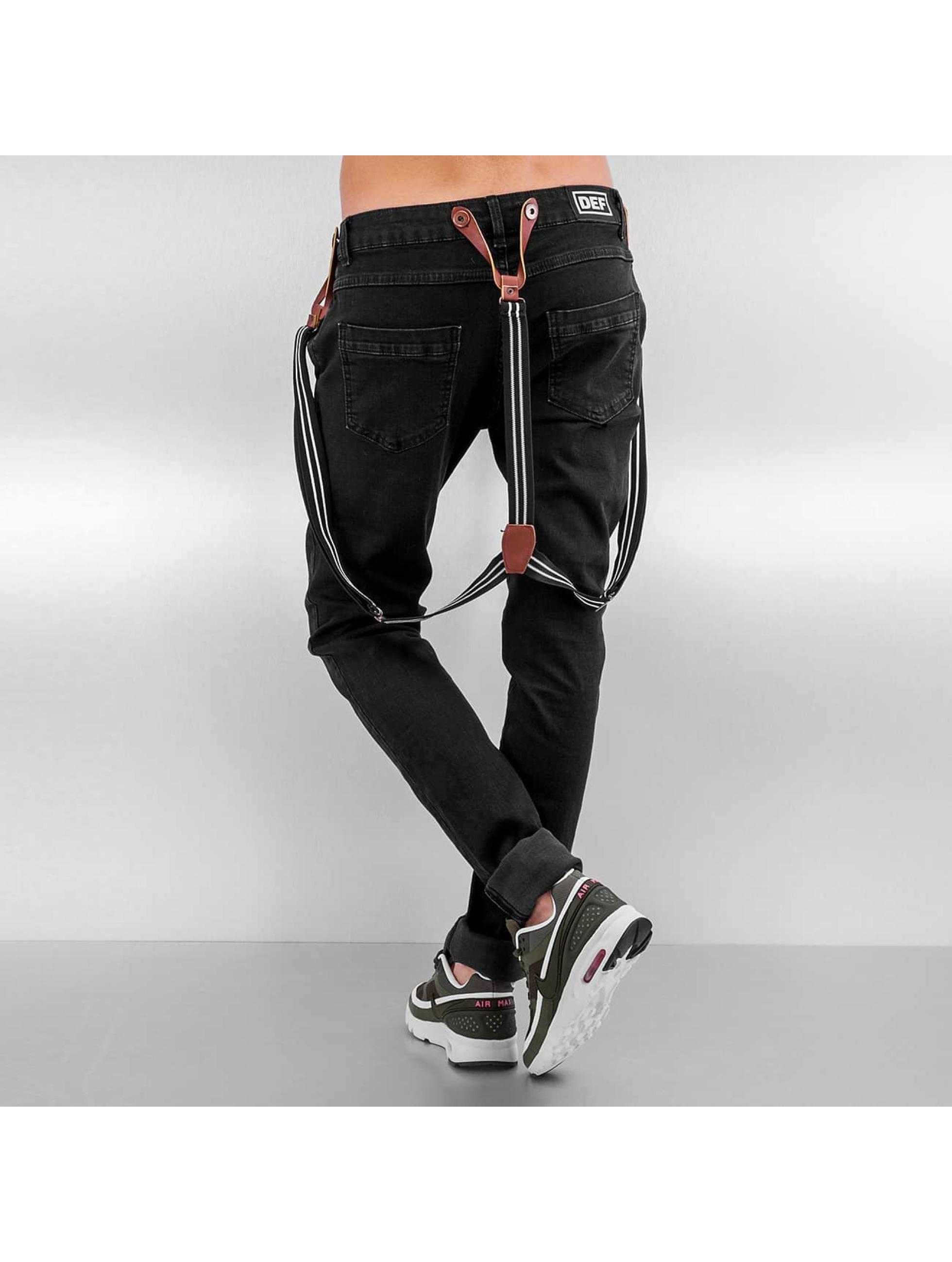 DEF Jean Boyfriend Suspenders II noir