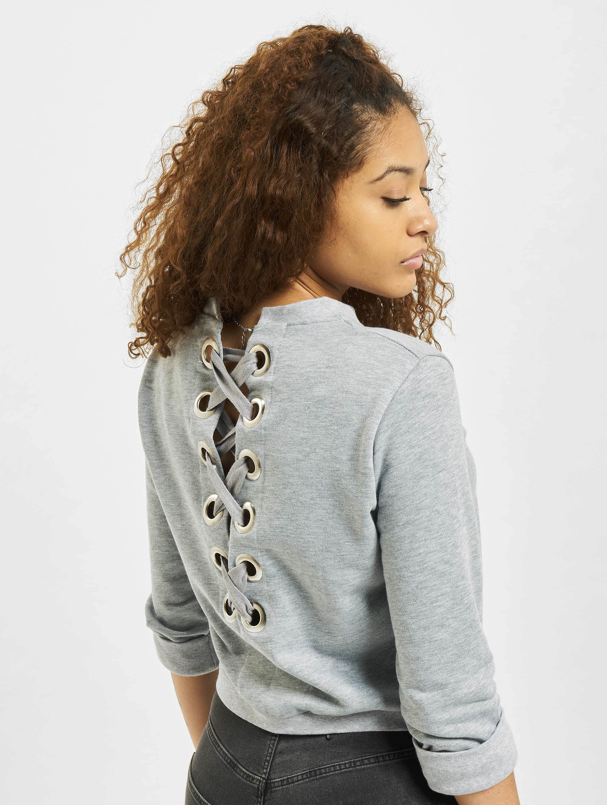 DEF Pullover Lace-up grau