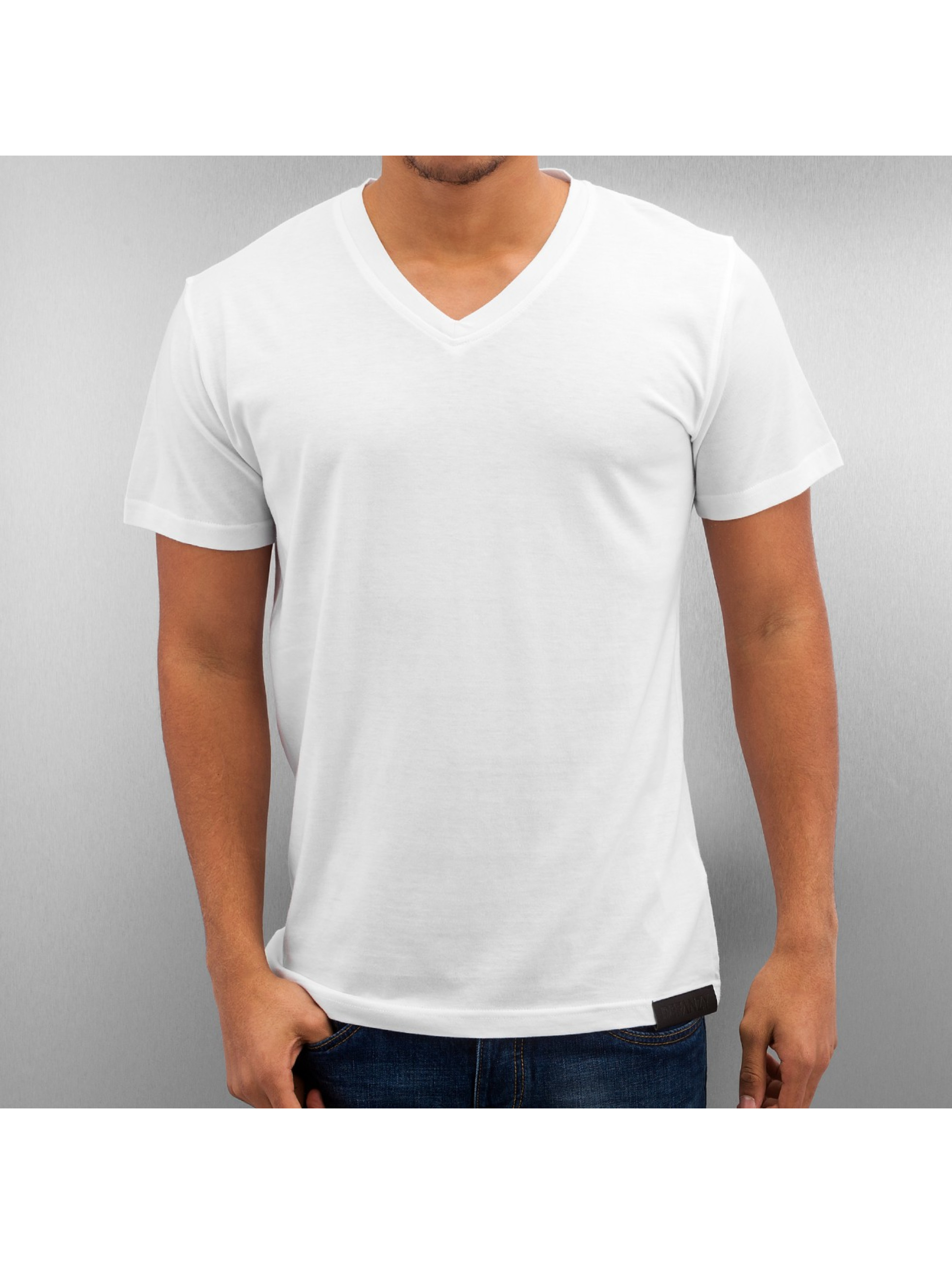DefShop T-Shirt Basic V-Neck blanc