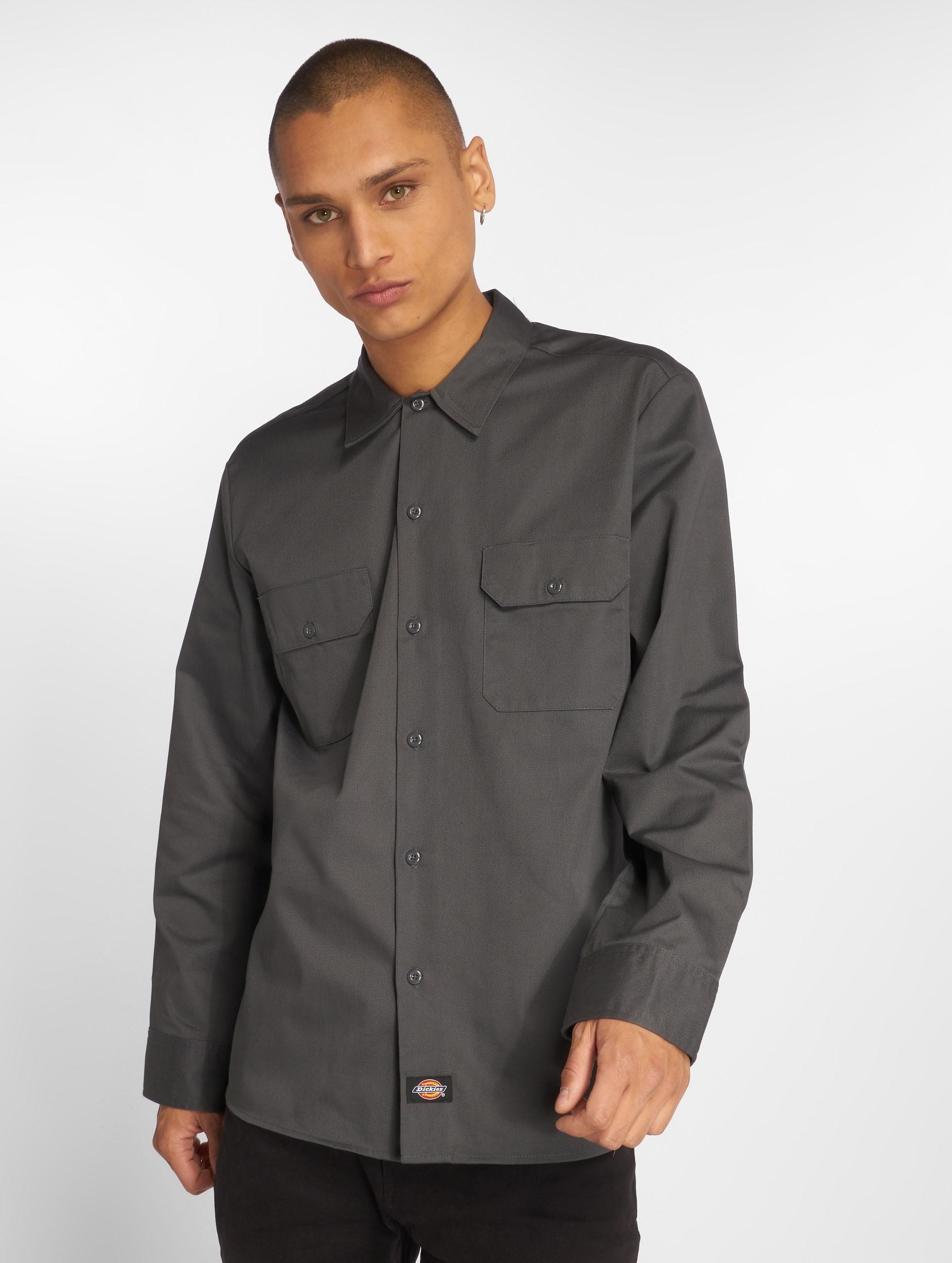 Dickies Рубашка Slim Work серый
