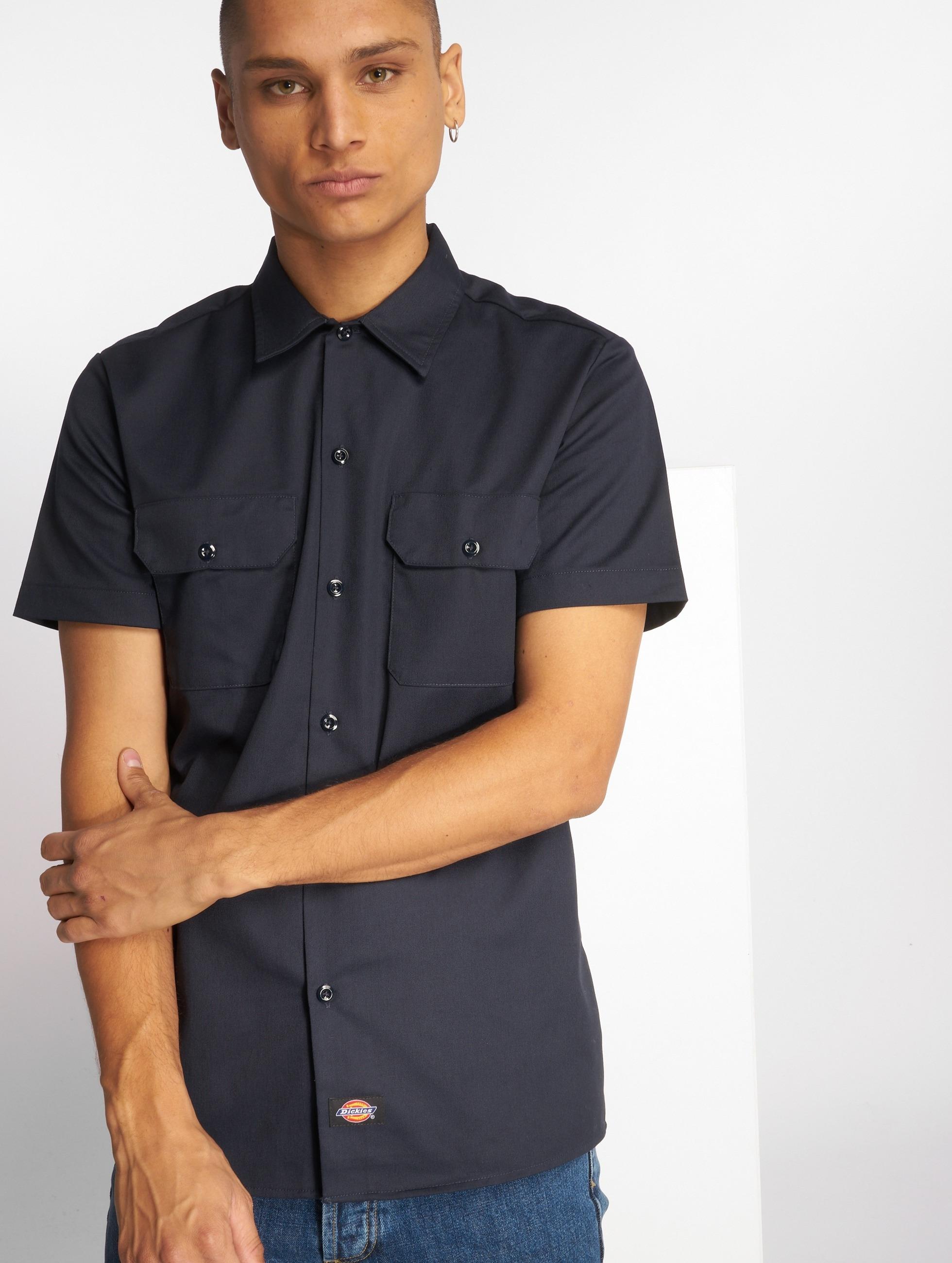 Dickies Рубашка Short Sleeve Slim Work синий