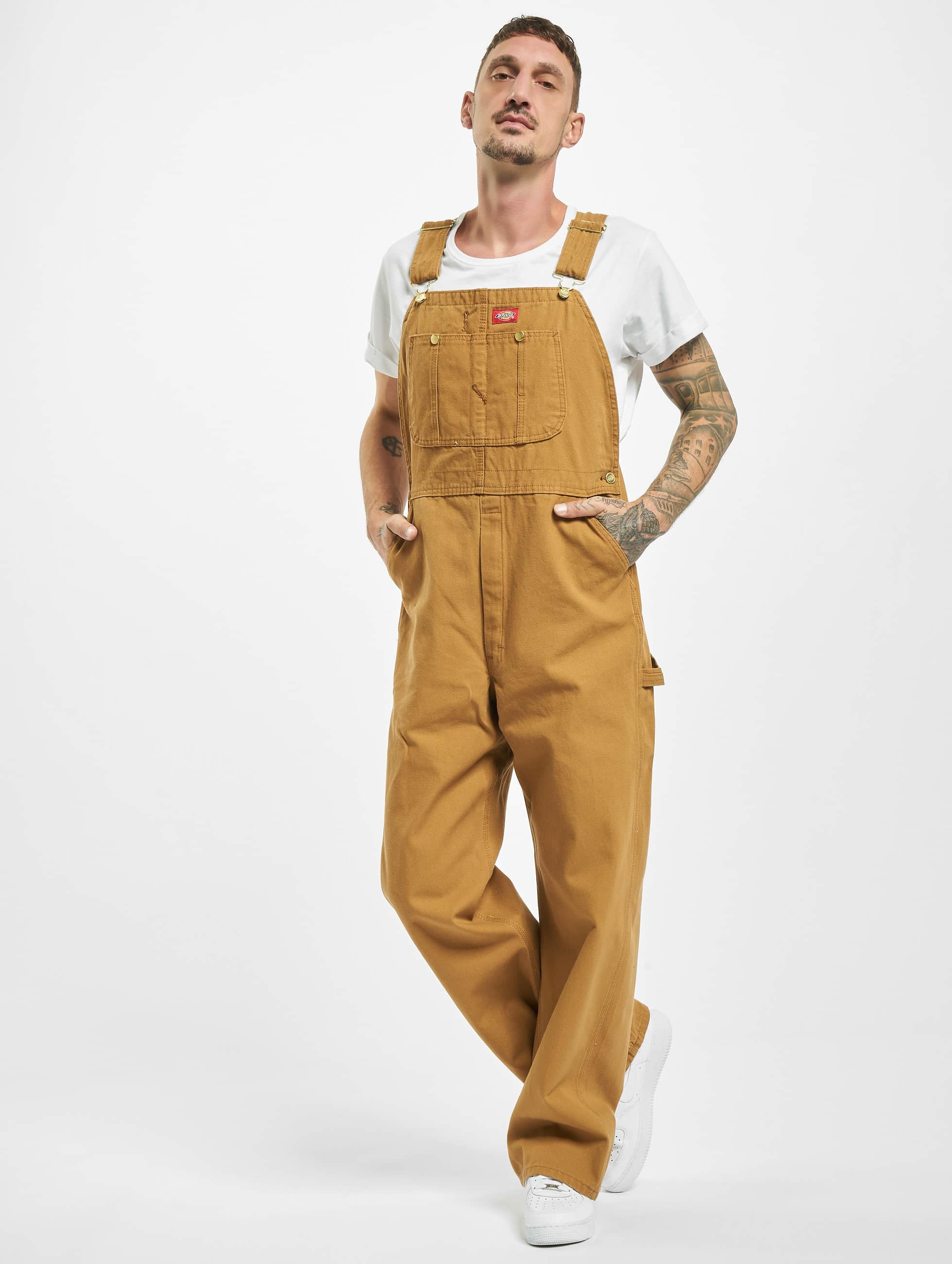 Dickies Jean large Bib Overall Rinsed brun