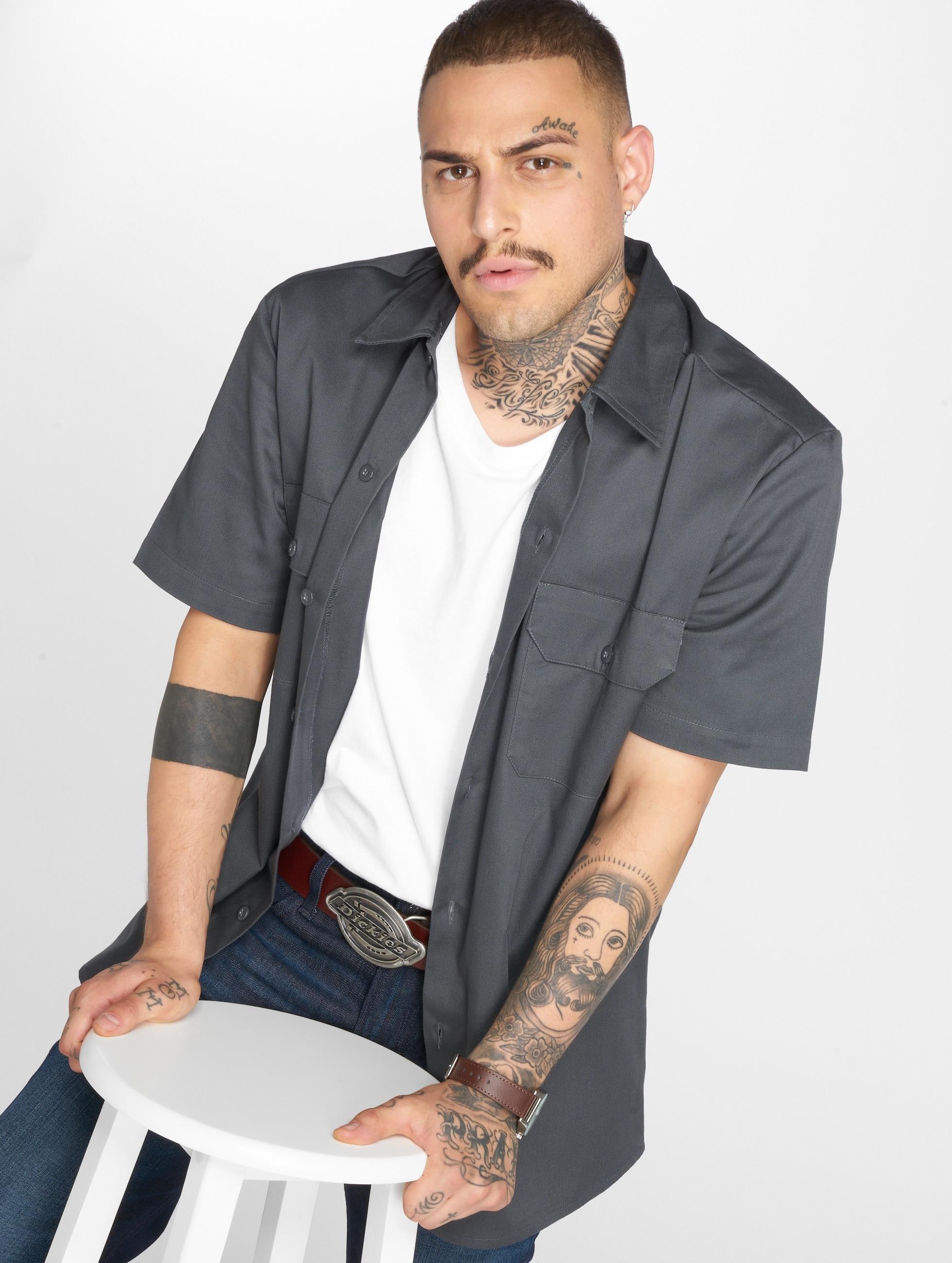 Dickies overhemd Short Sleeve Slim Work grijs