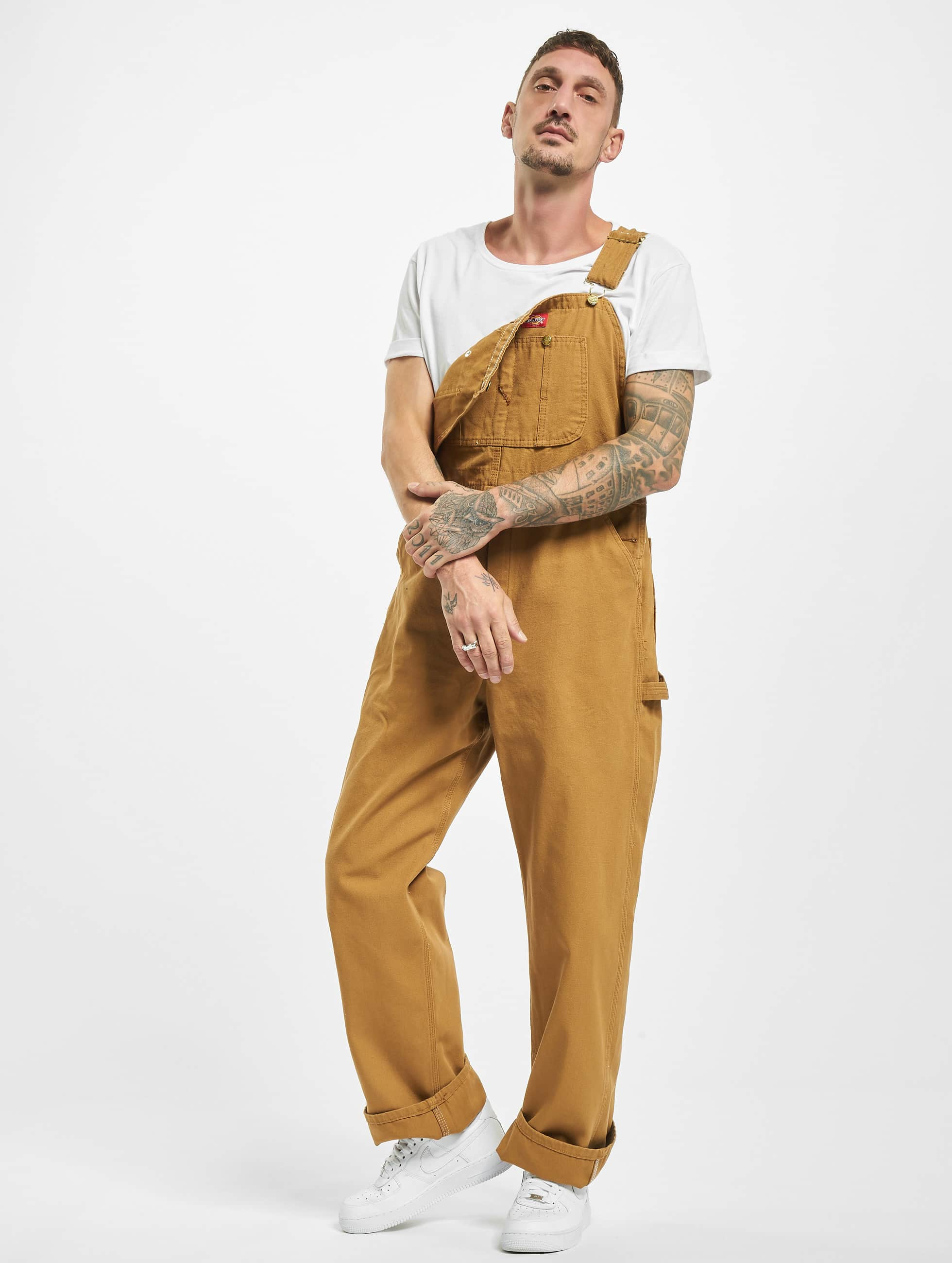 Straight Fit Jeans Bib Overall Rinsed in braun