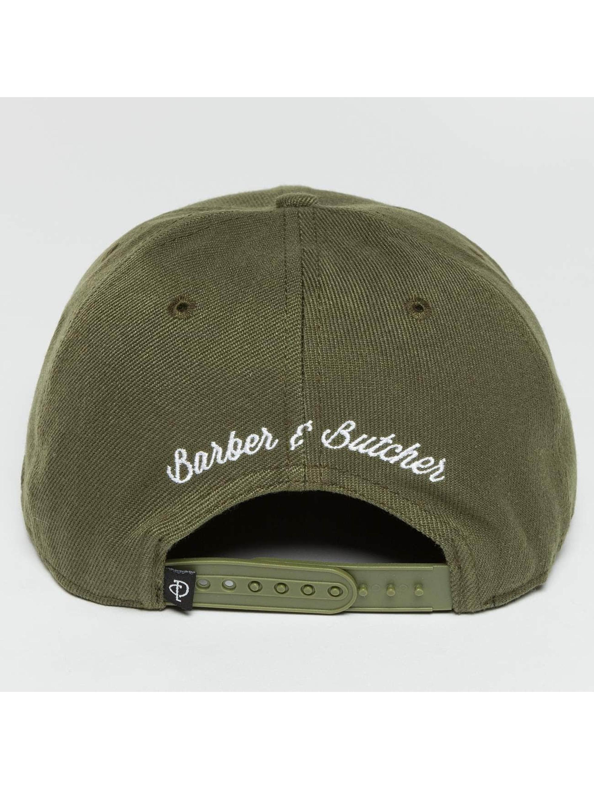 Distorted People snapback cap Barber & Butcher olijfgroen