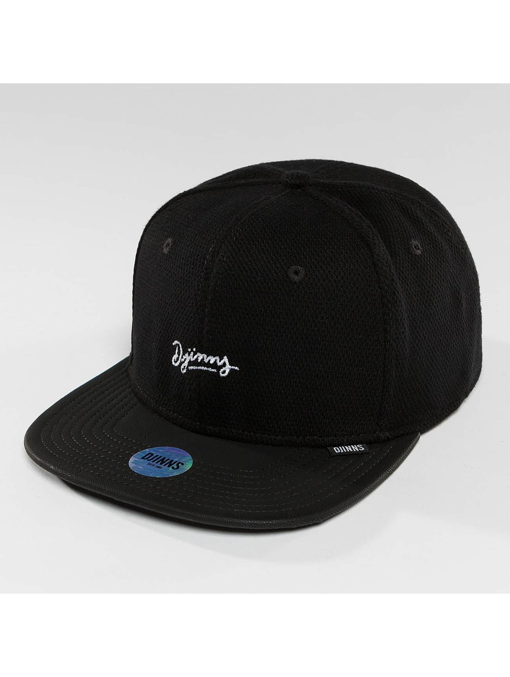 Djinns Snapback Caps 6 Panel Piki Leather musta