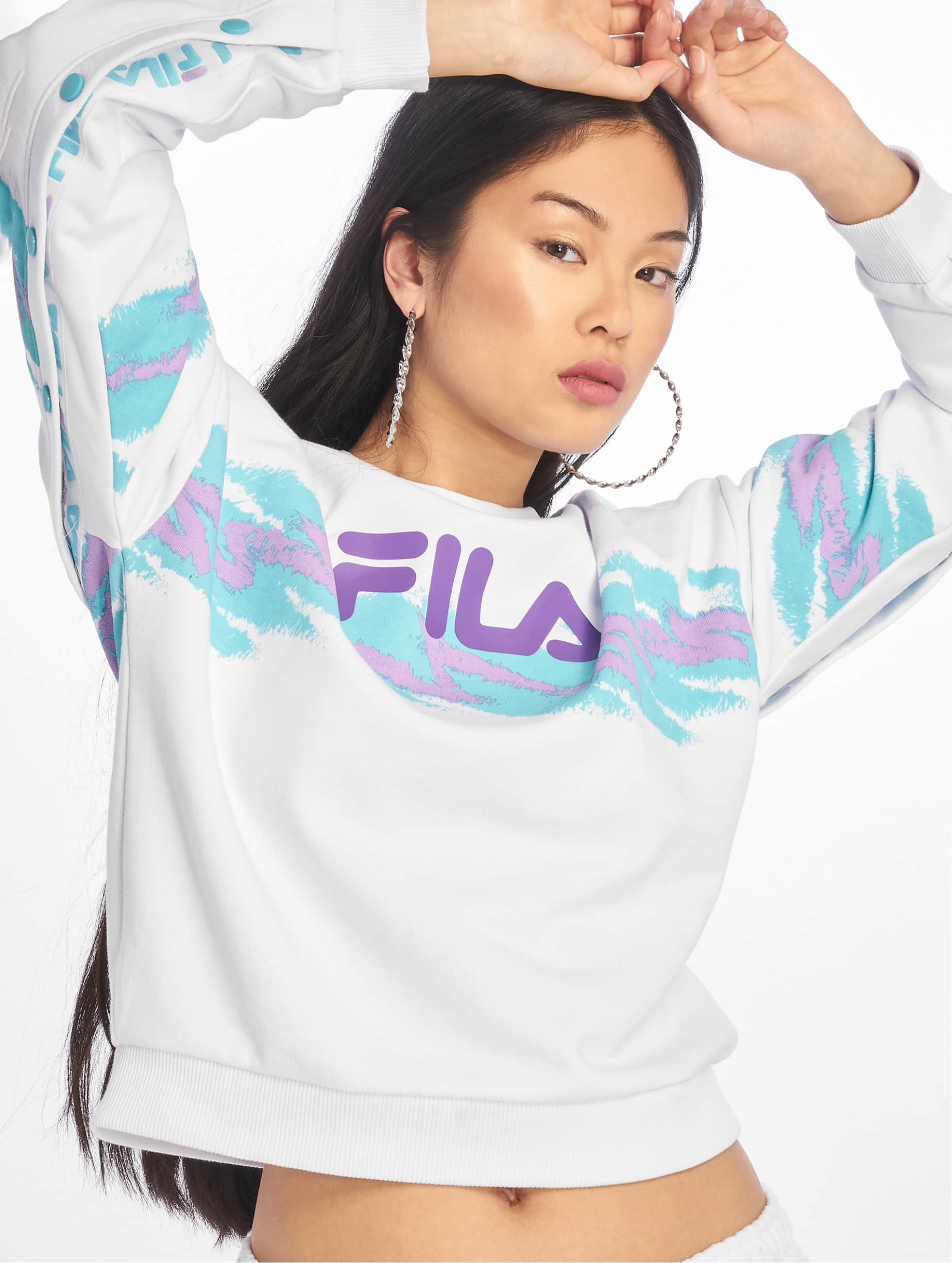 Fila Urban Line Buttoned Justyna Sweatshirt Bright WhiteBlue Curacao