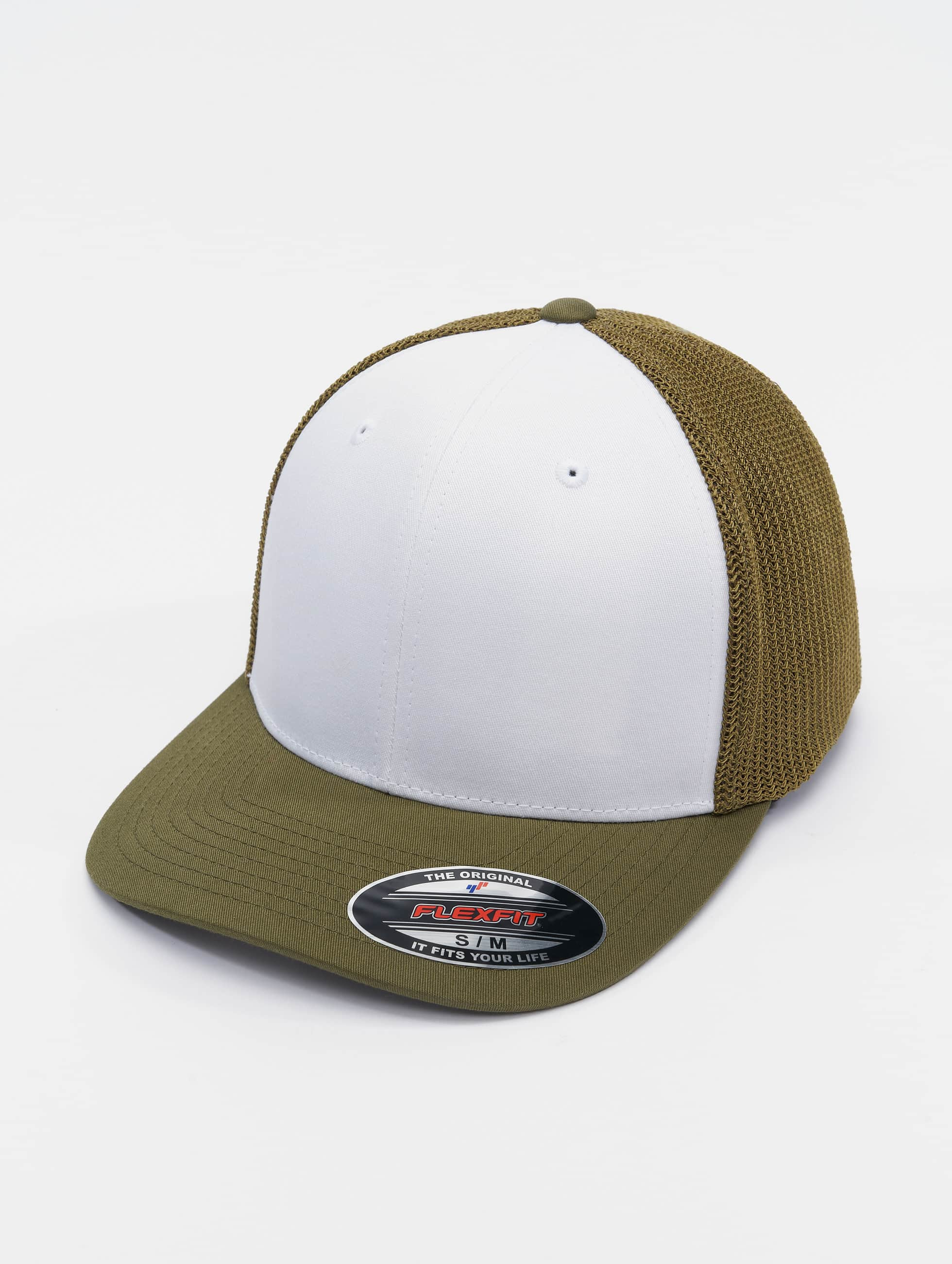 Flexfit Flexfitted Cap Mesh Colored Front olijfgroen