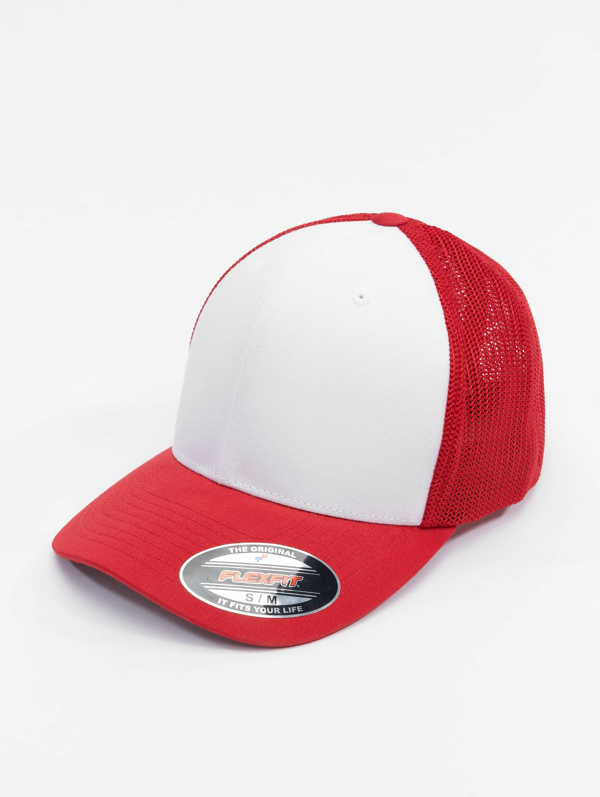 Flexfit Lastebilsjåfør- / flexfitted caps Mesh Colored Front red