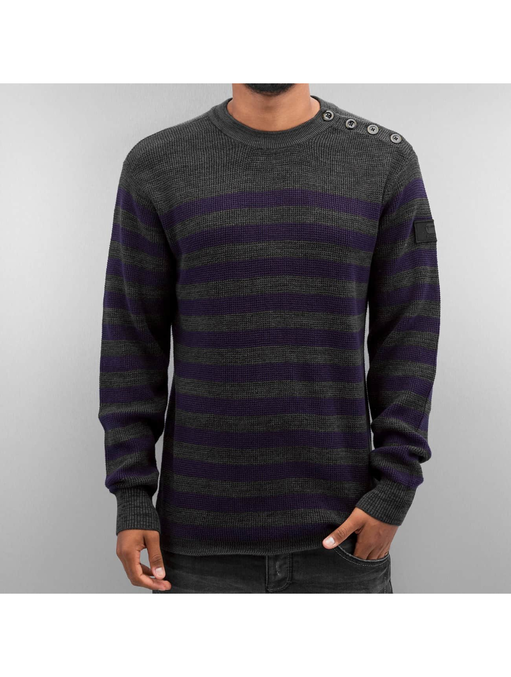 g star herren pullover dadin stripe knit in grau 283418. Black Bedroom Furniture Sets. Home Design Ideas
