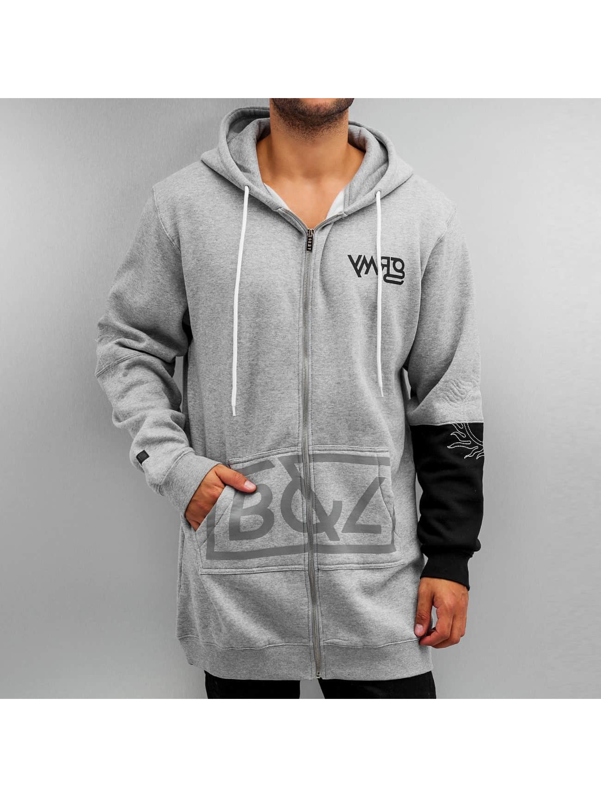 Grimey Wear Zip Hoodie Fire Eater Long grå