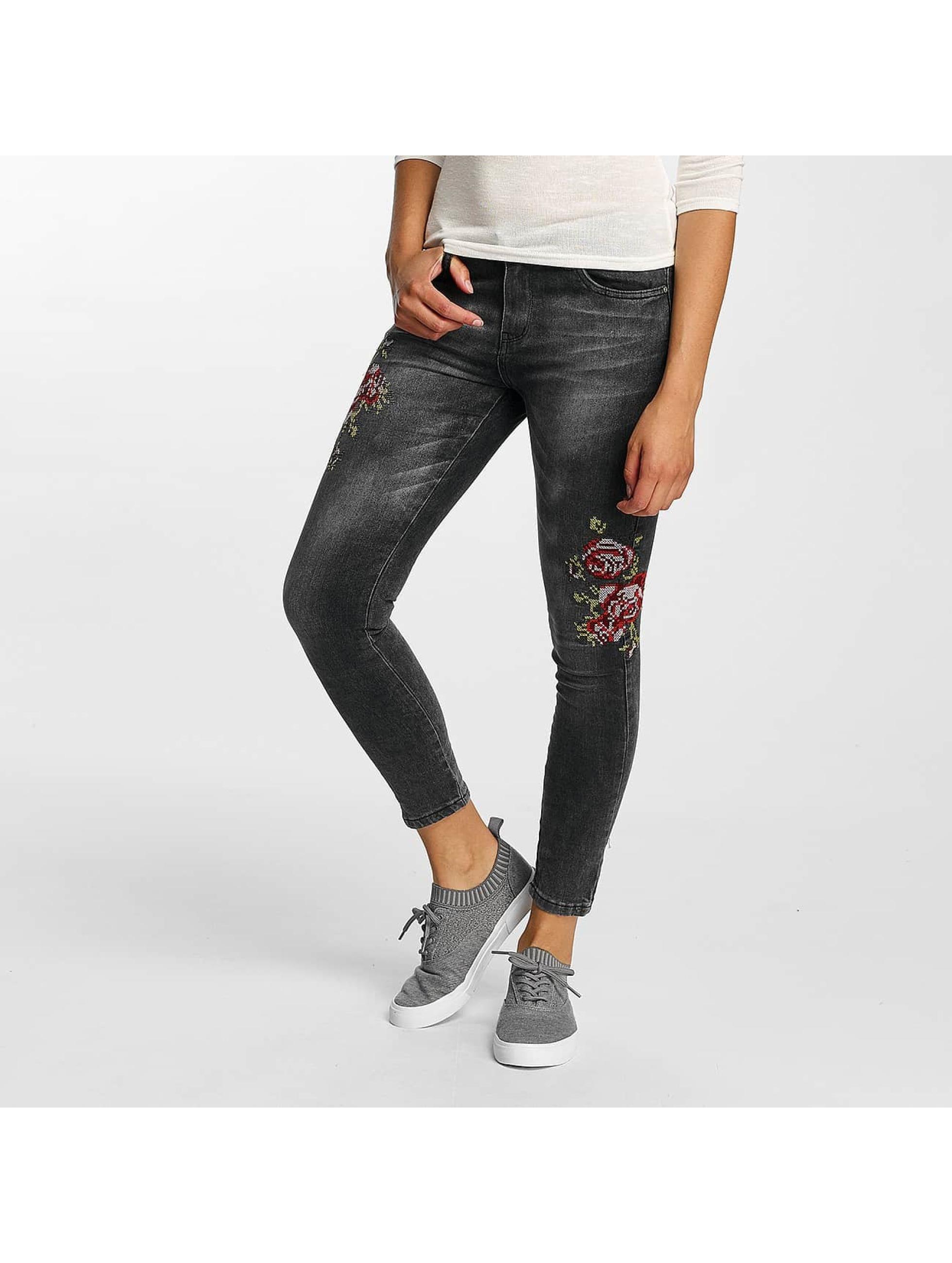Hailys Облегающие джинсы Sari Roses черный