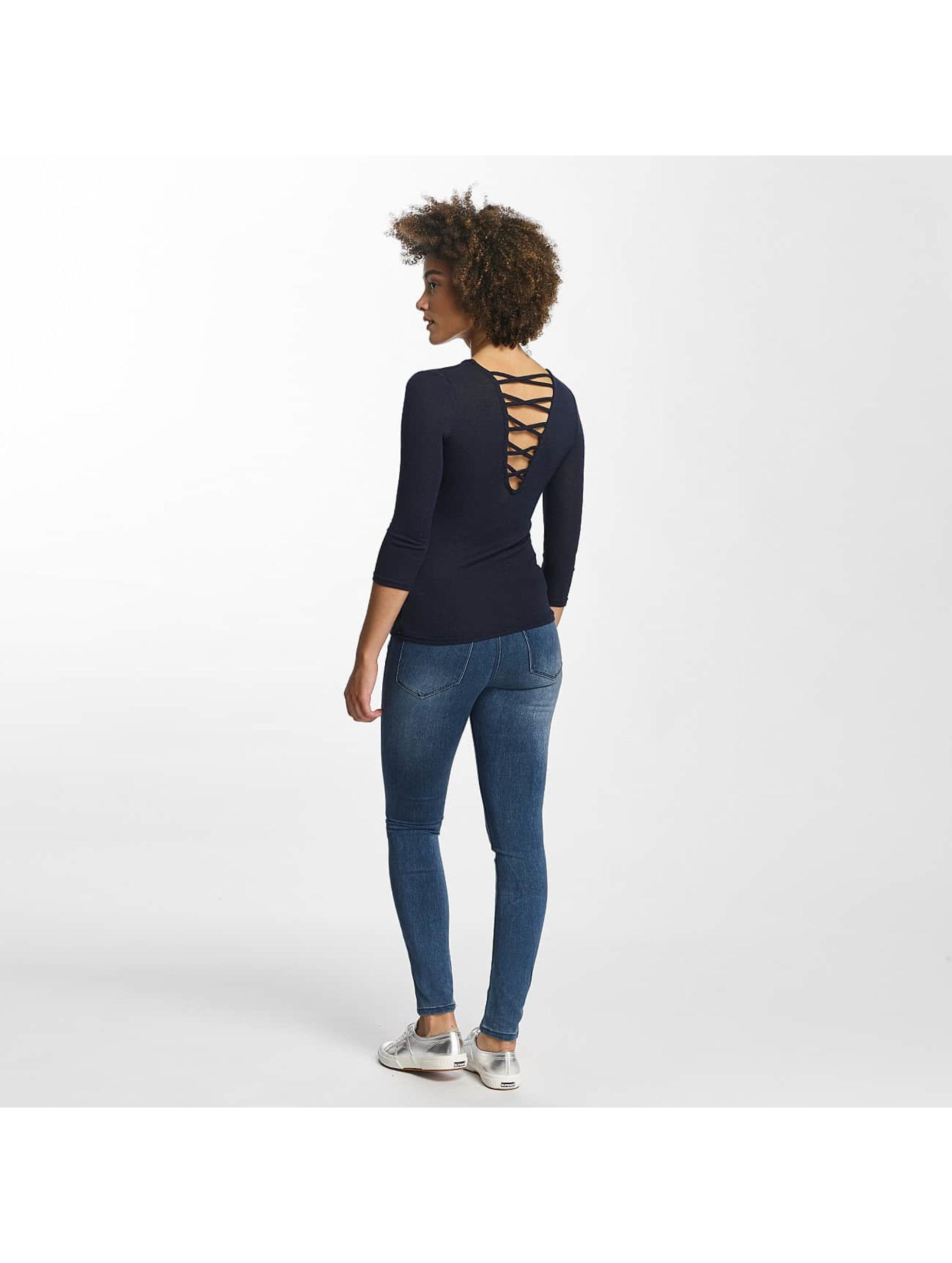 Hailys Пуловер Jenny 3/4 Lace-Up синий