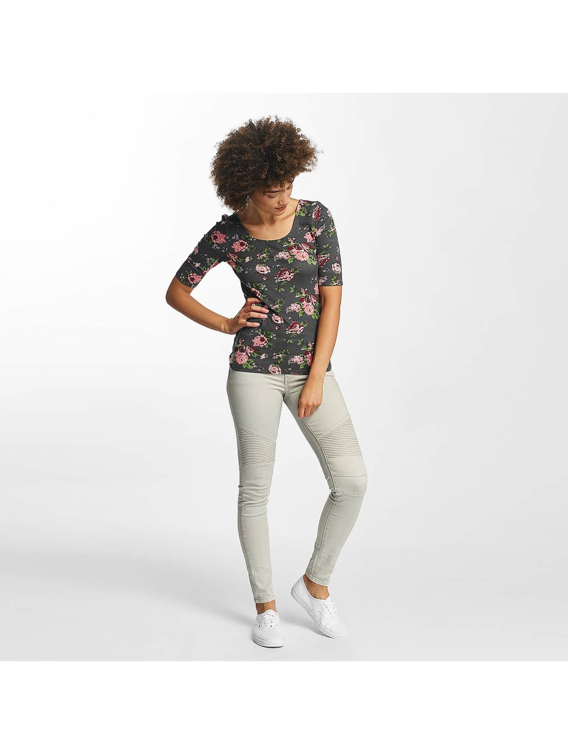 Hailys Camiseta de manga larga Rachel Flower gris