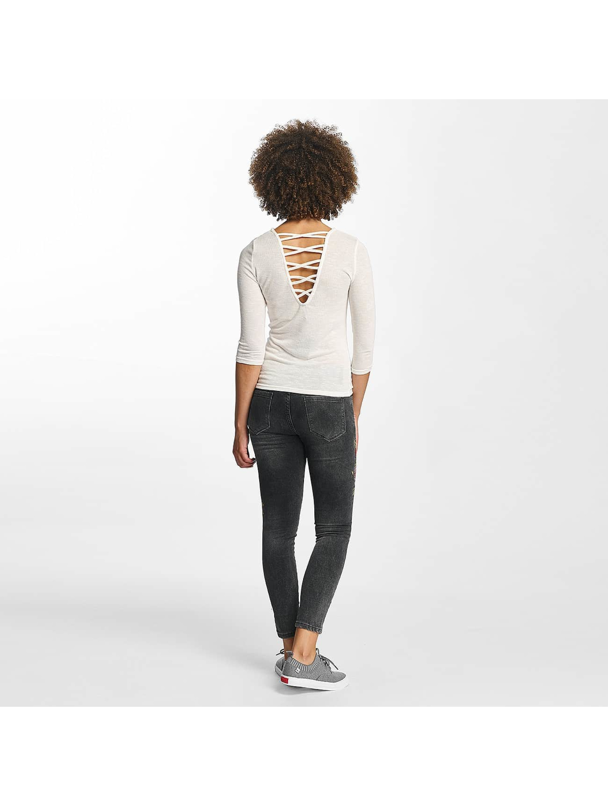 Hailys Swetry jenny 3/4 Lace-Up bialy