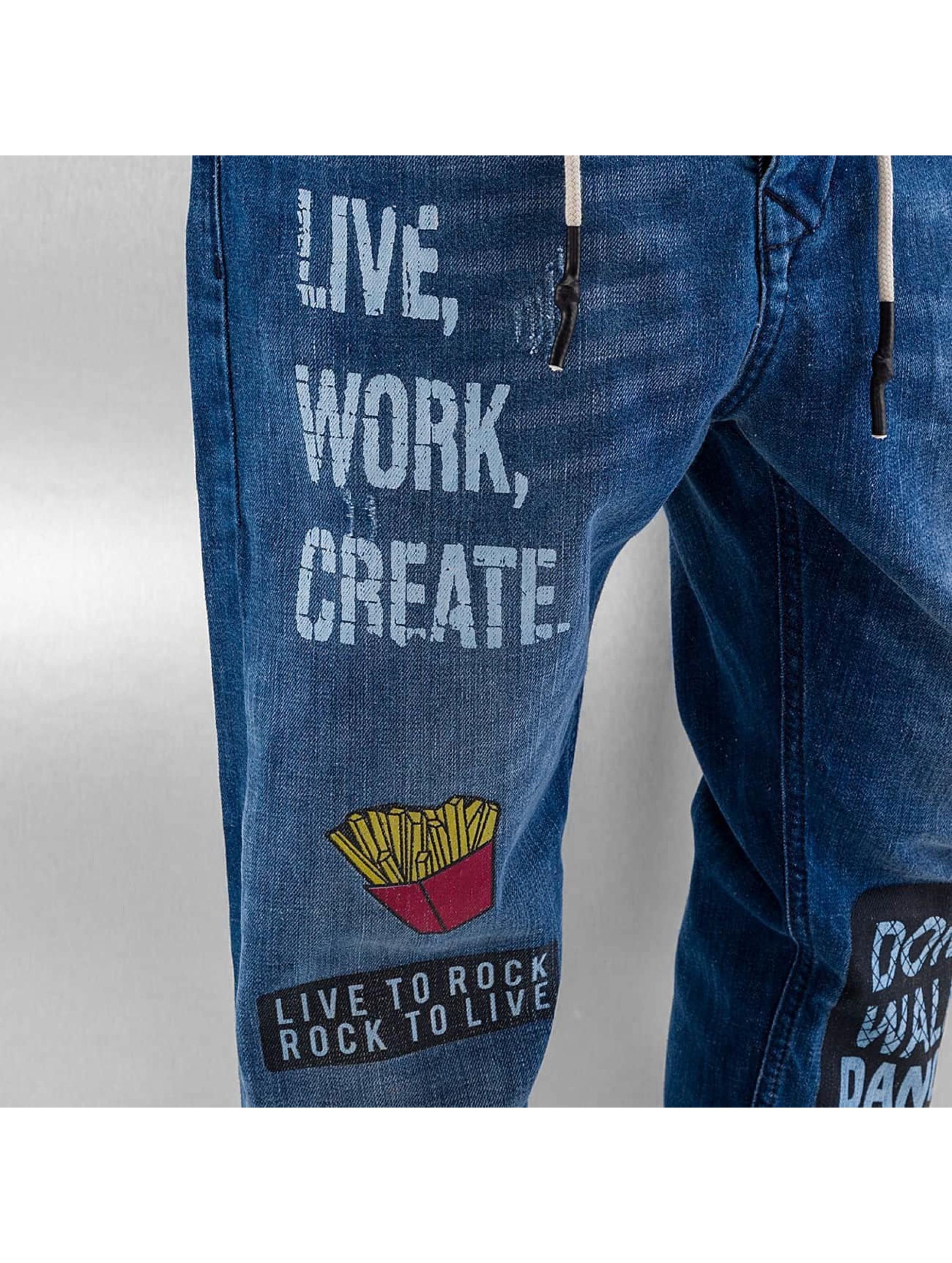 Just Rhyse Antifit-farkut Live, Work, Create sininen