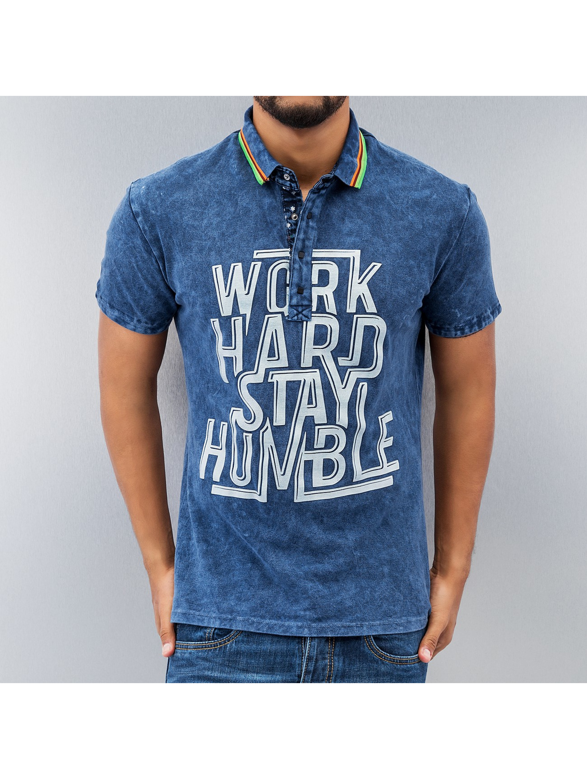 Just Rhyse Poloshirt Work Hard blau